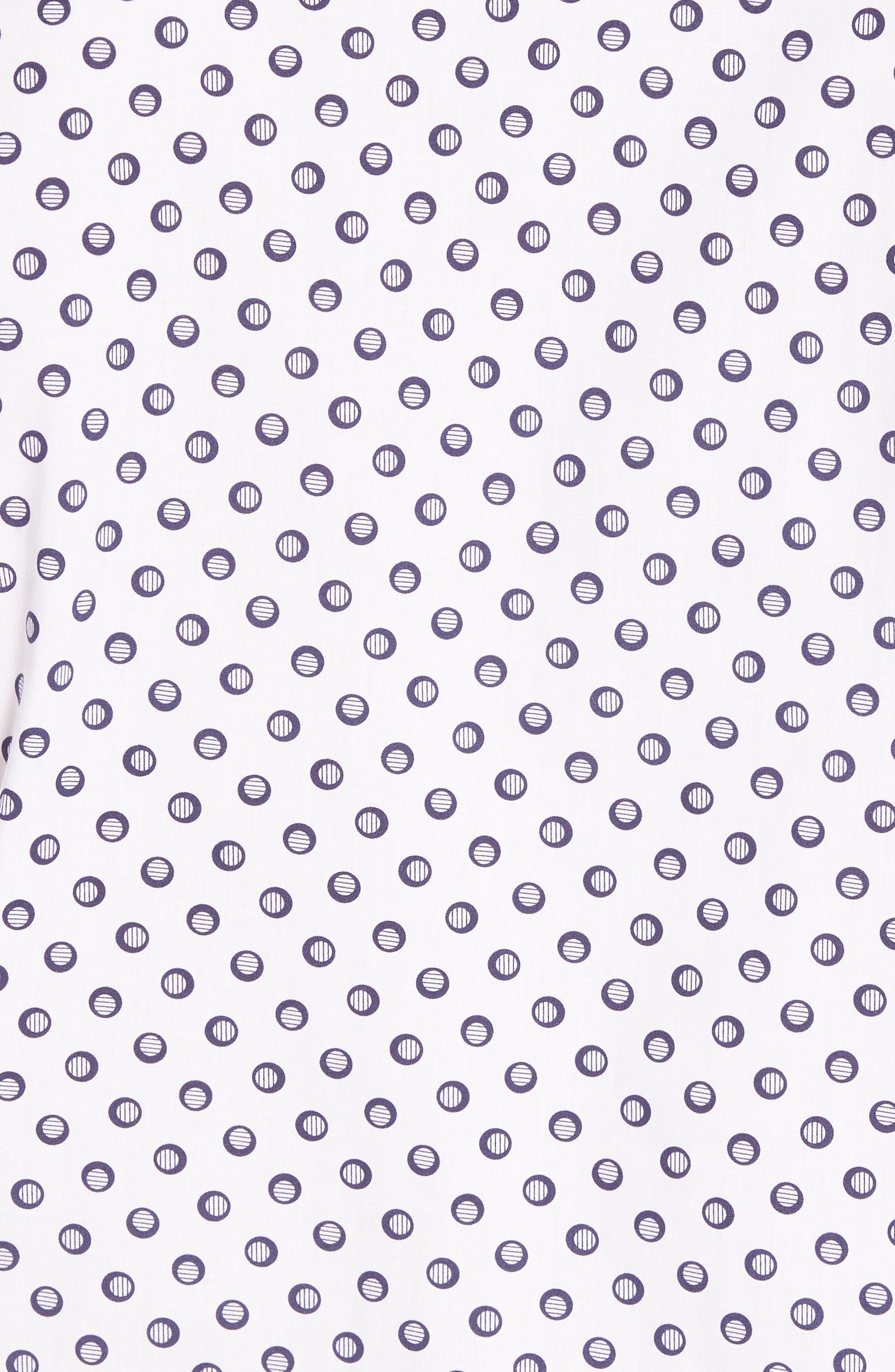 Regular Fit Dot Print Sport Shirt,                             Alternate thumbnail 5, color,                             White/ Navy