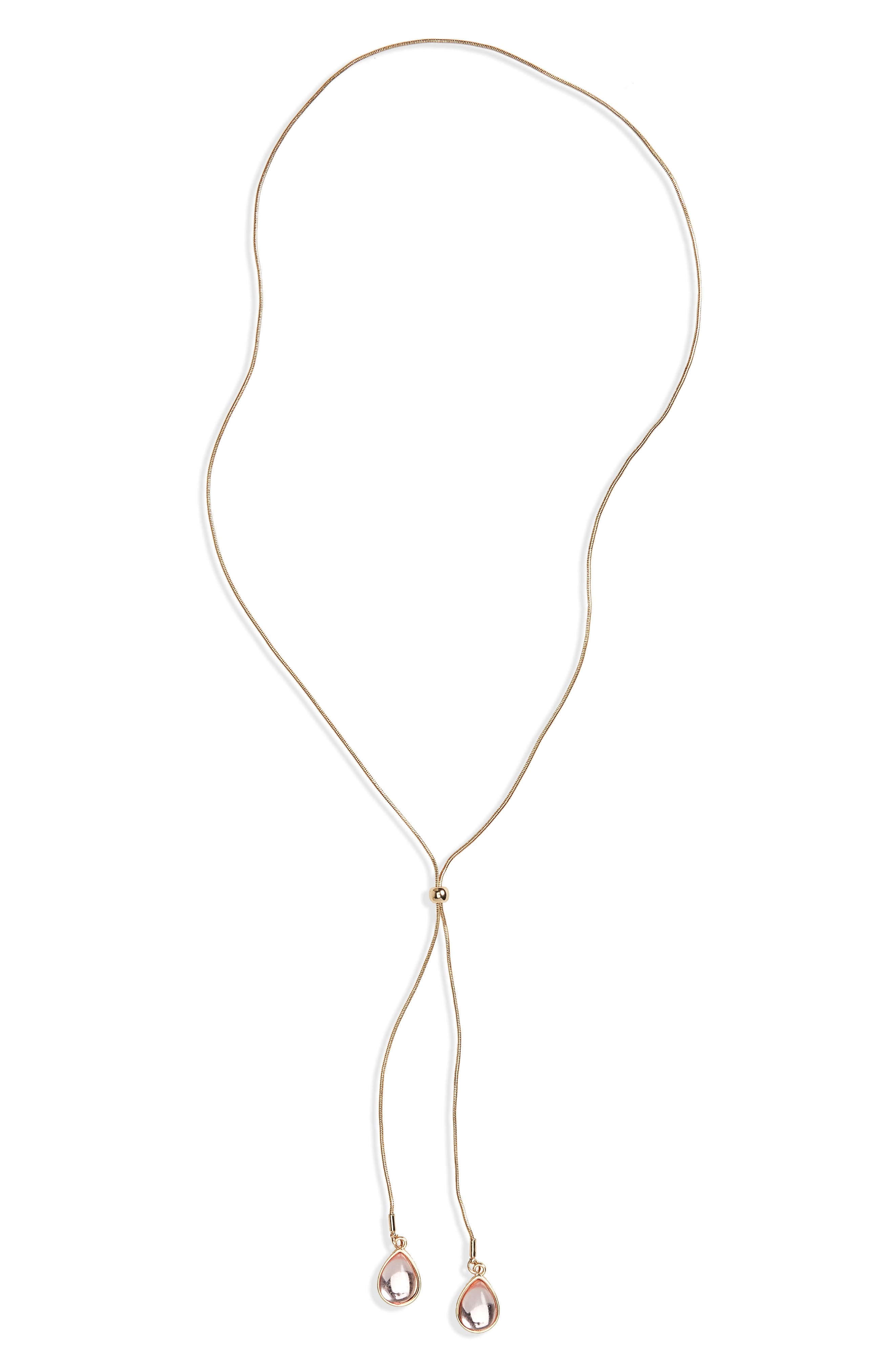 Two-Row Bead Lariat Necklace,                         Main,                         color, Pastel Pink