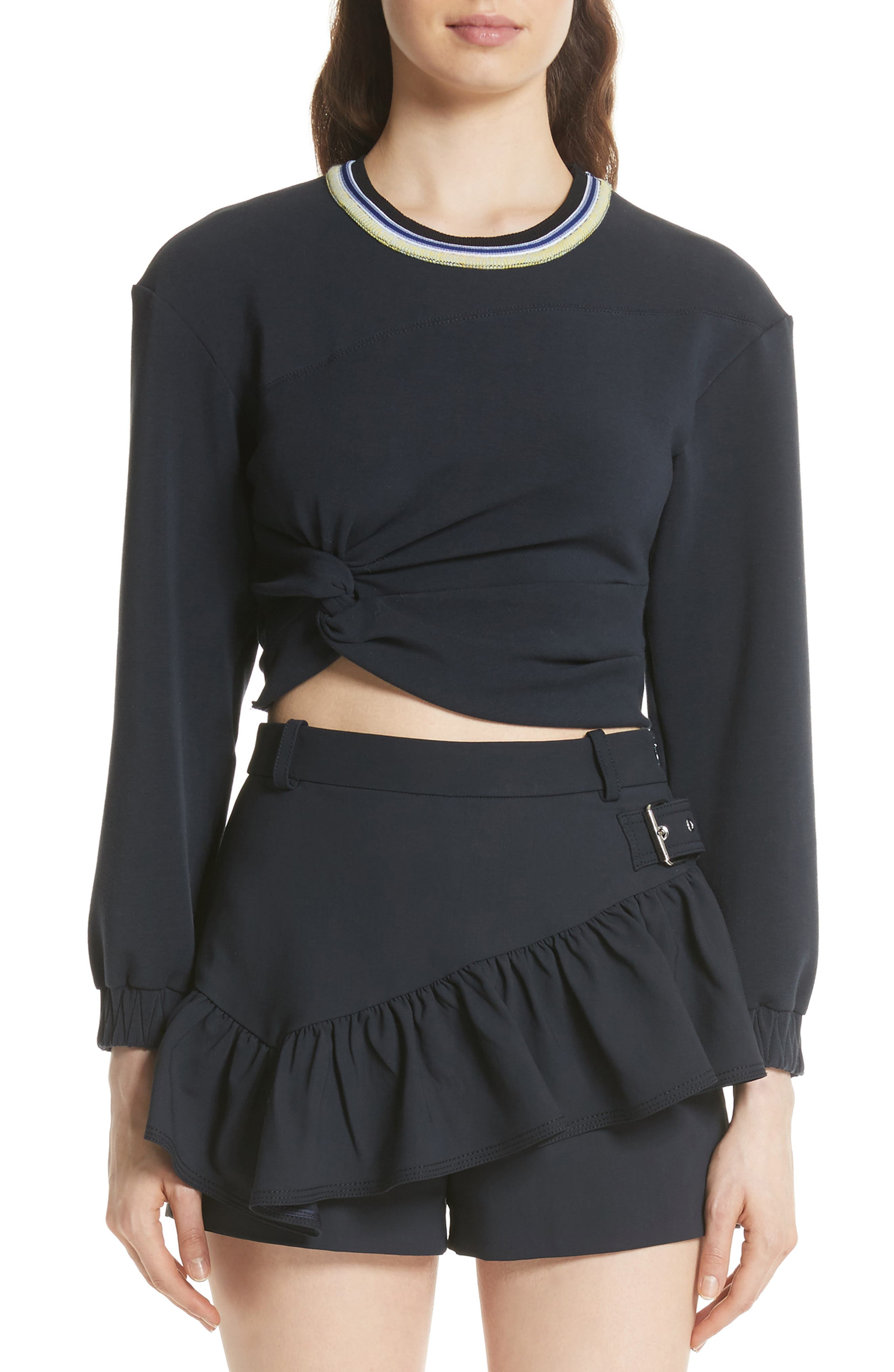 Twisted Crop Top,                         Main,                         color, Midnight