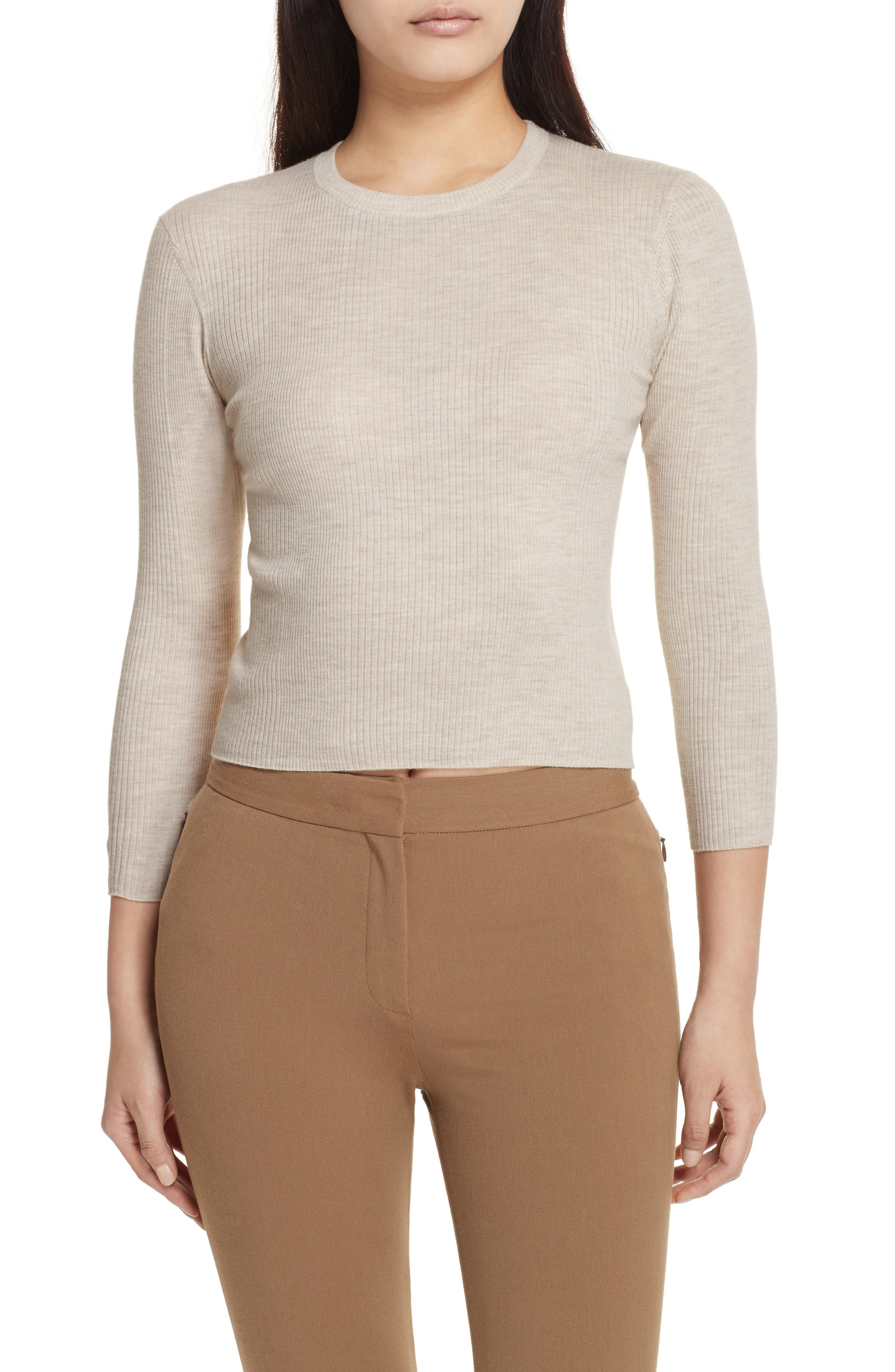 Merino Wool Blend Sweater,                             Main thumbnail 1, color,                             Light Heather Beige