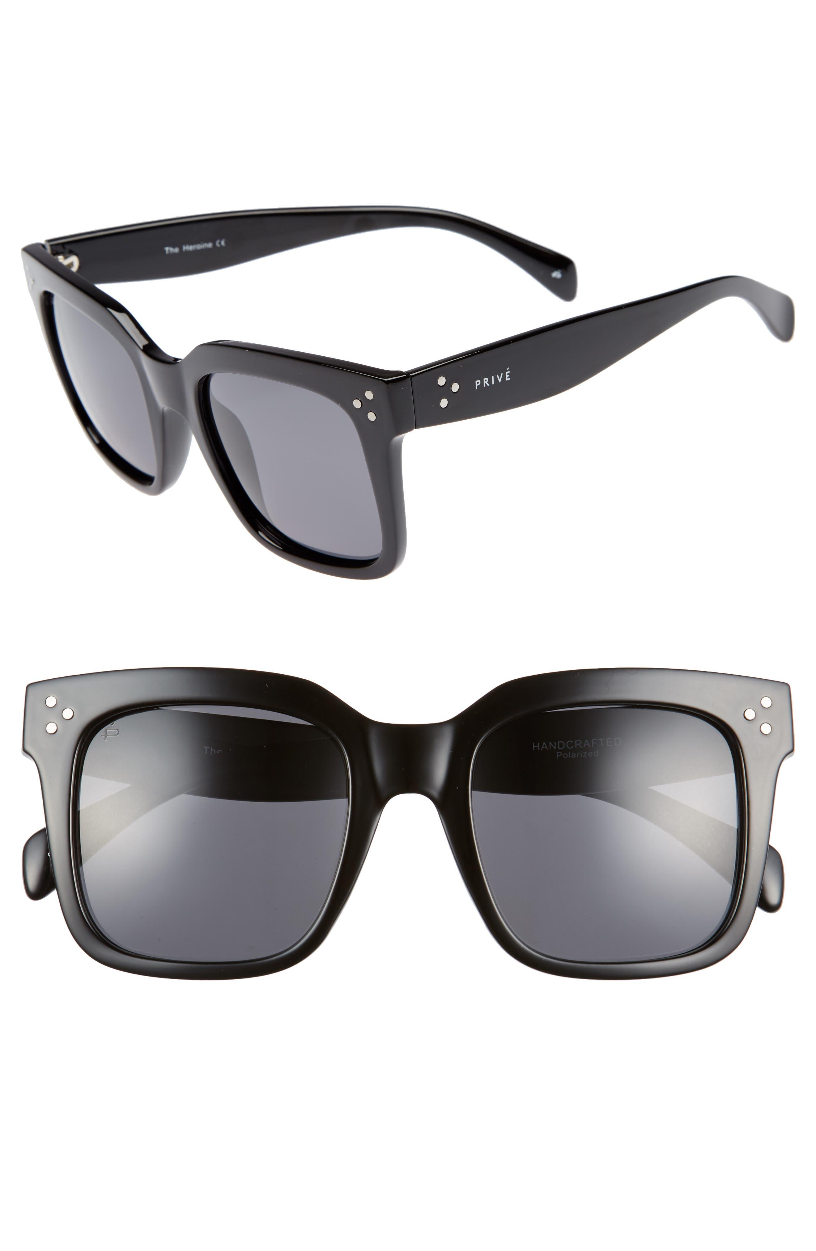 Privé Revaux The Heroine 53mm Sunglasses,                             Main thumbnail 1, color,                             Black