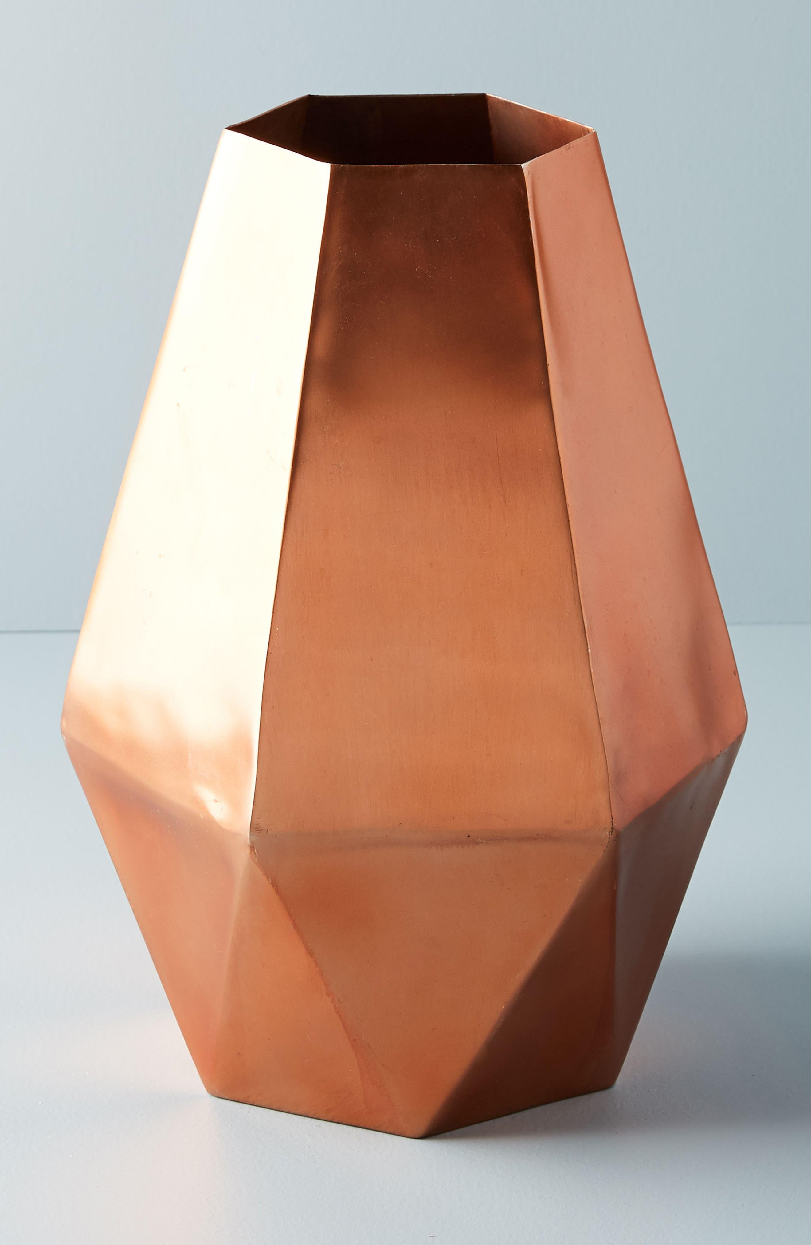 Faceted Hexagon Metal Vase,                         Main,                         color, Copper