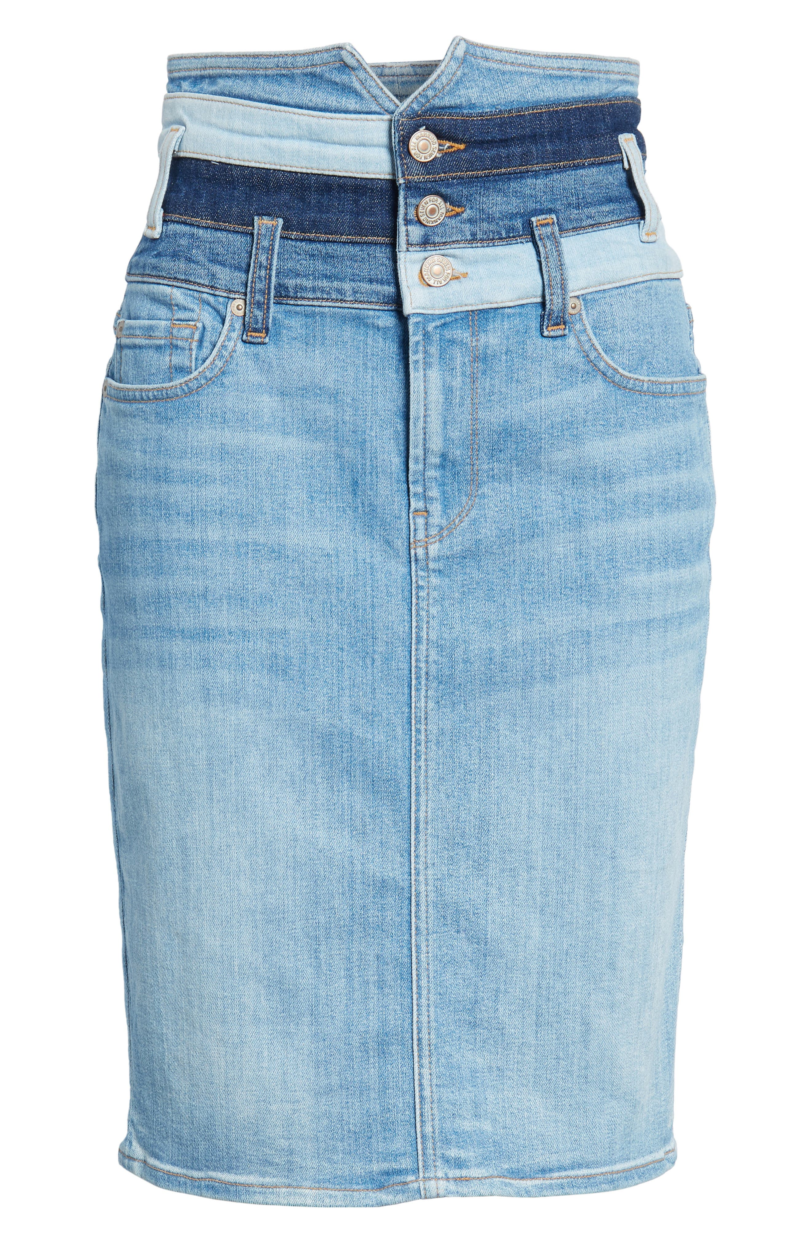Patchwork Denim Skirt,                             Alternate thumbnail 6, color,                             Patchwork Found 5