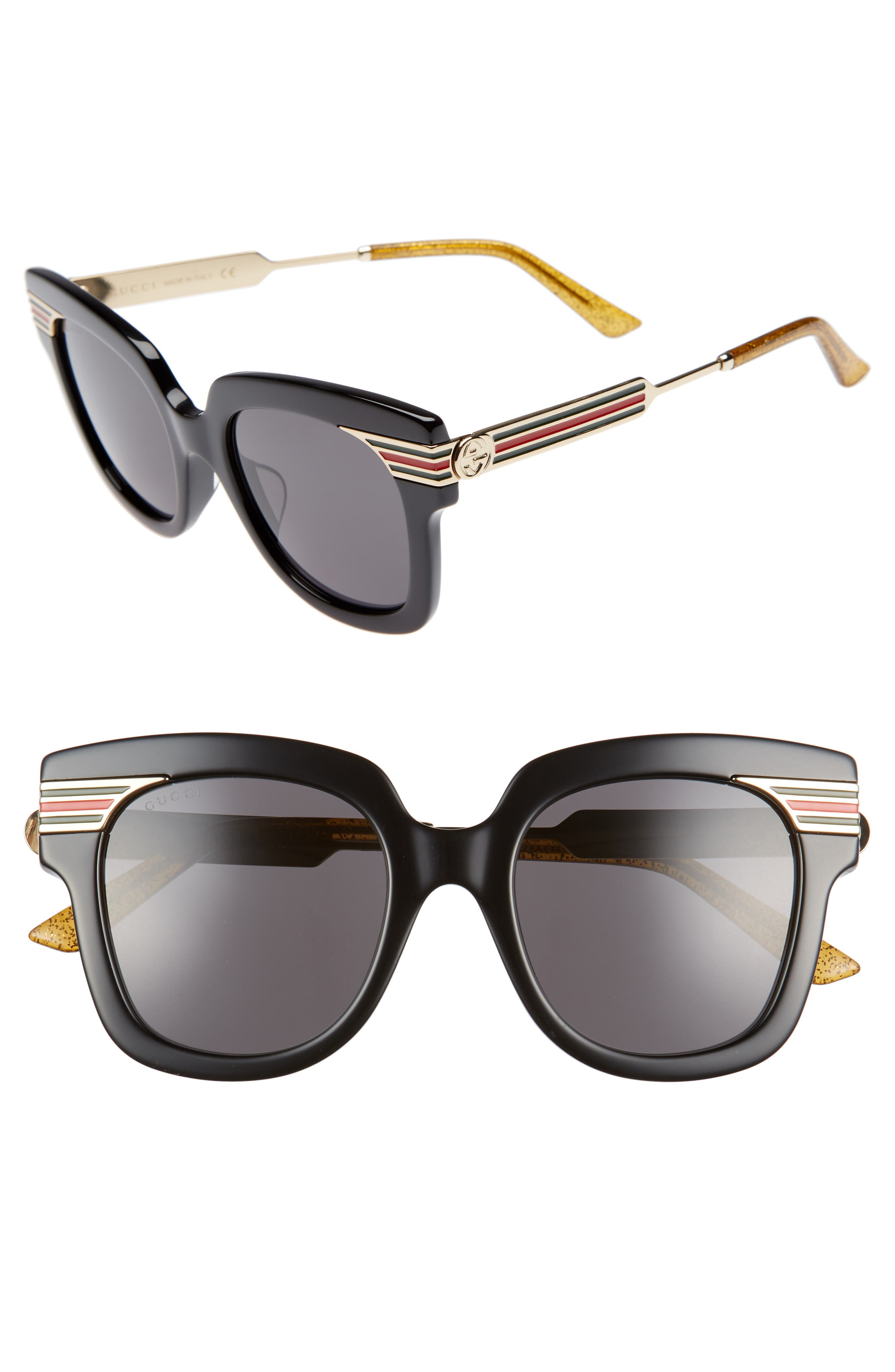51mm Cat Eye Sunglasses,                             Main thumbnail 1, color,                             Black/ Gold