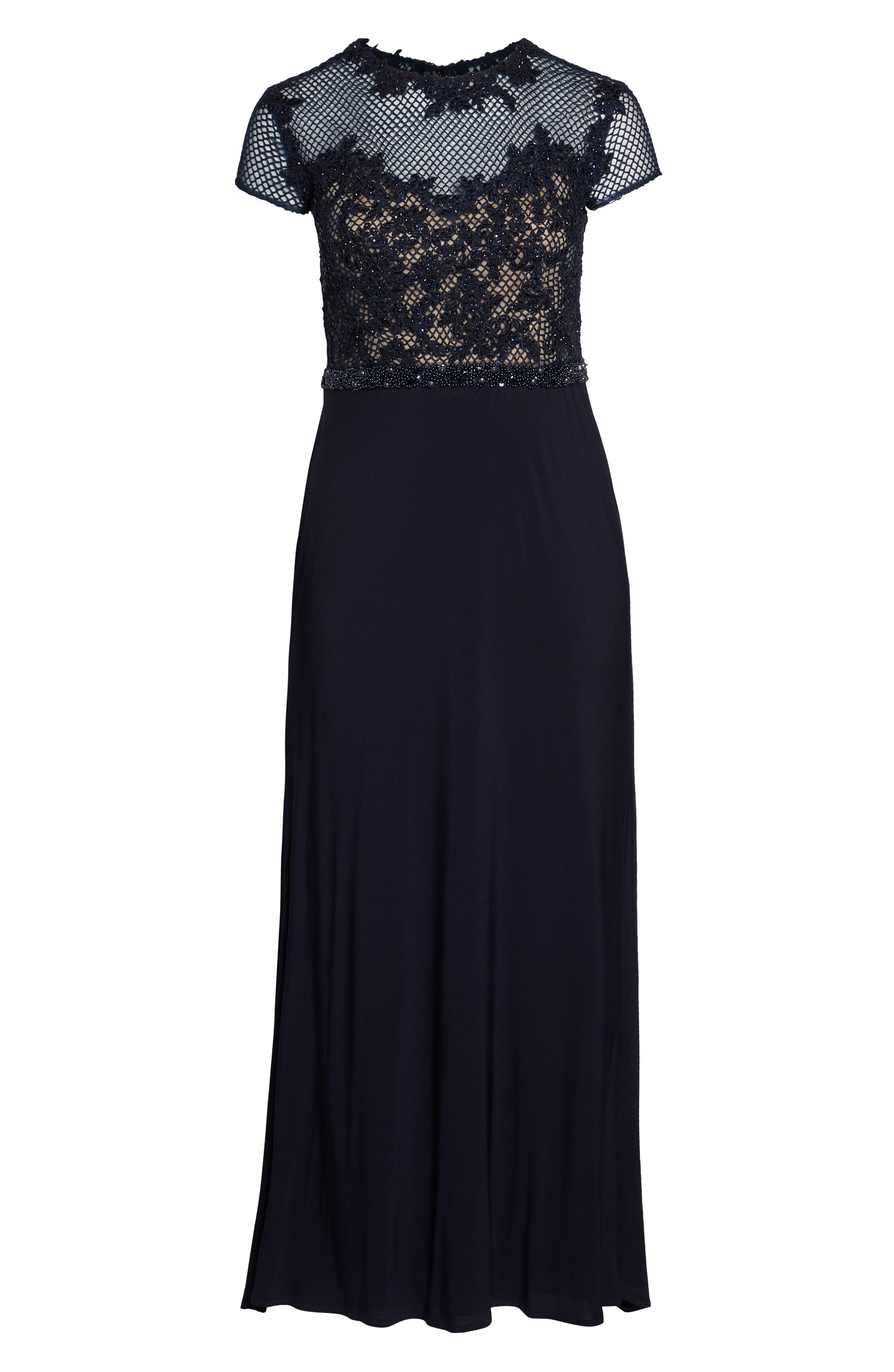 Embellished Crochet & Jersey Gown,                             Main thumbnail 1, color,                             Navy