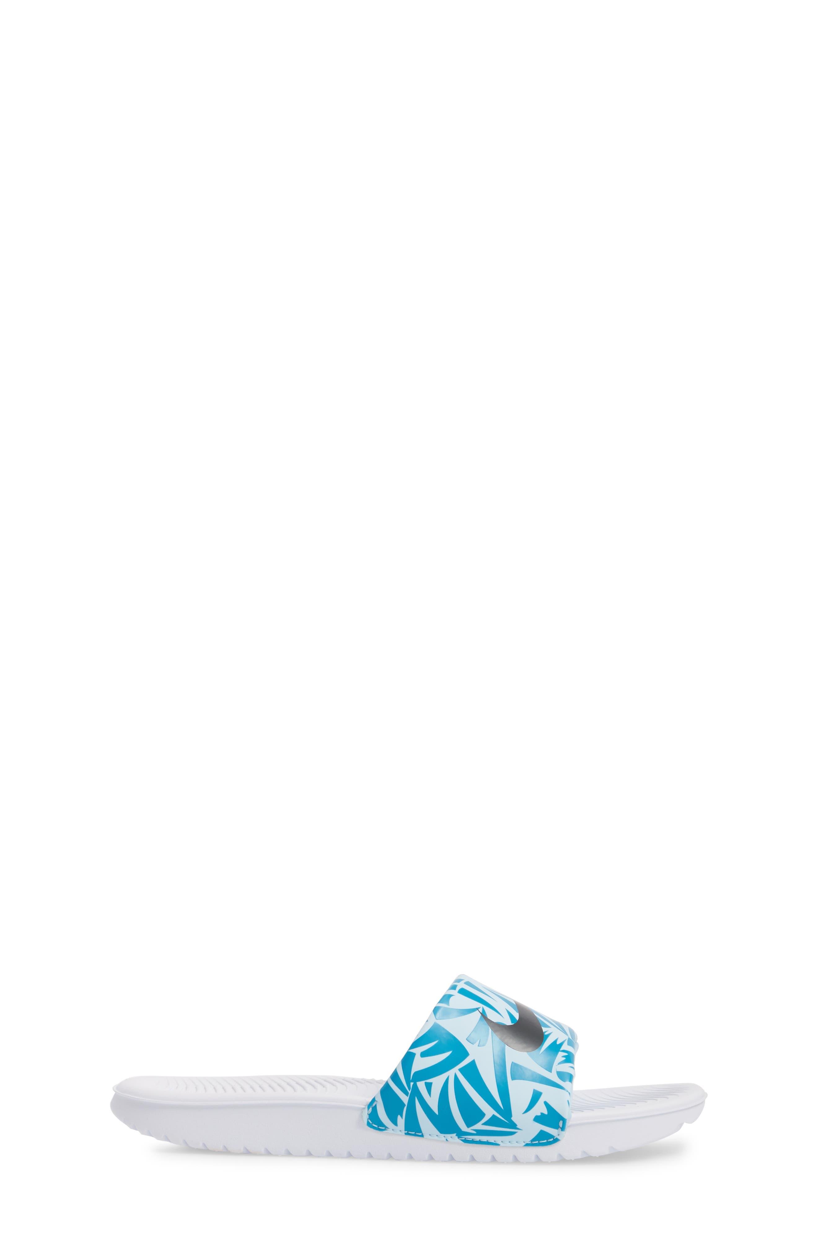 'Kawa' Print Slide Sandal,                             Alternate thumbnail 3, color,                             White/ Anthracite/ Turquoise