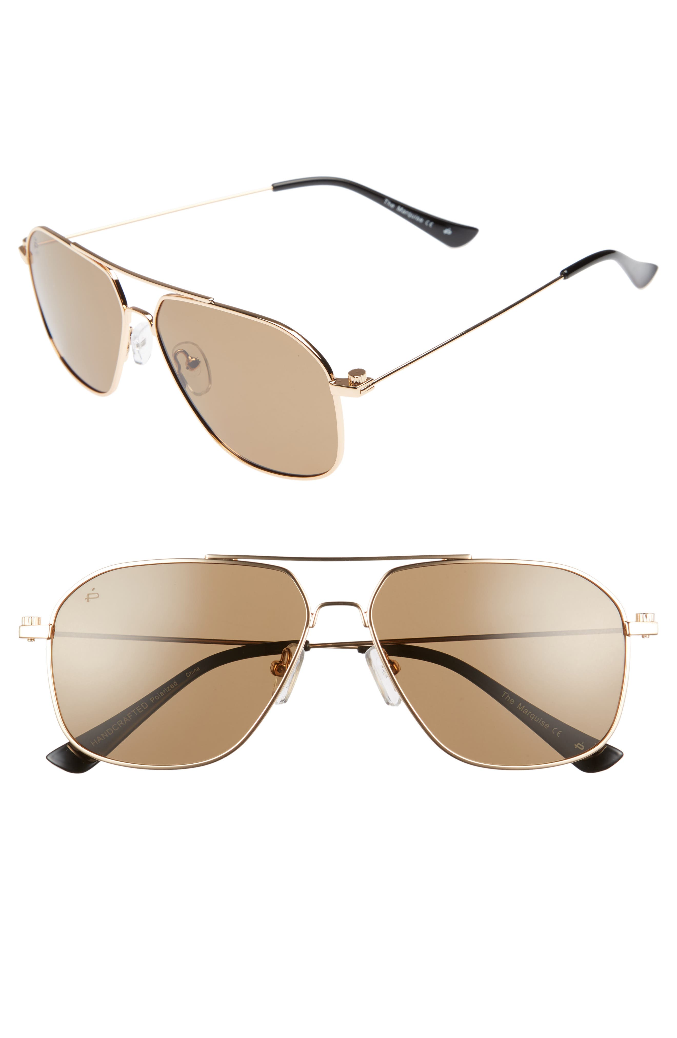 Privé Revaux The Marquise 58mm Aviator Sunglasses,                             Main thumbnail 1, color,                             Metal/ Gold