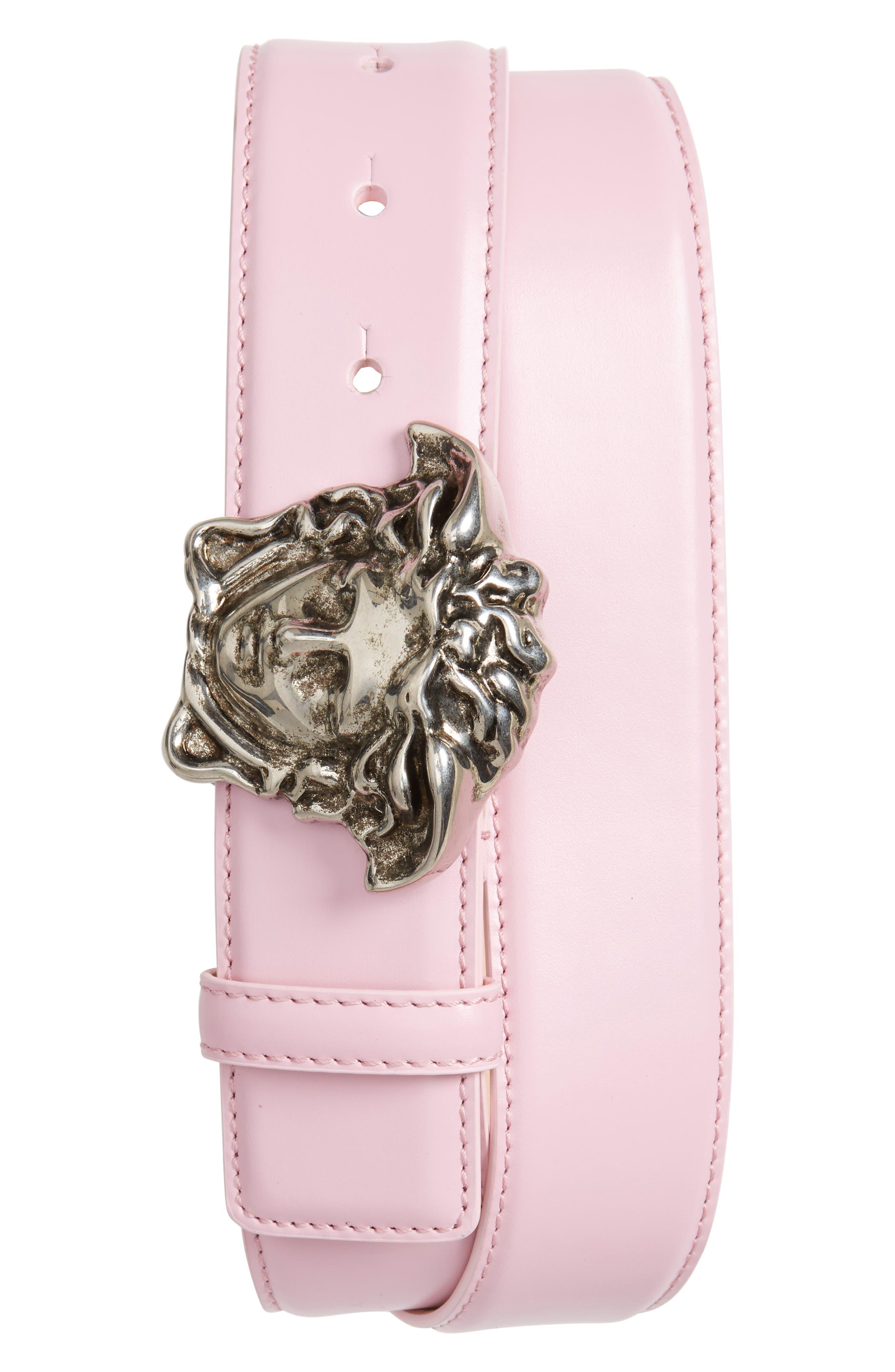 Medusa Head Leather Belt,                         Main,                         color, Powder Pink-Antiqued