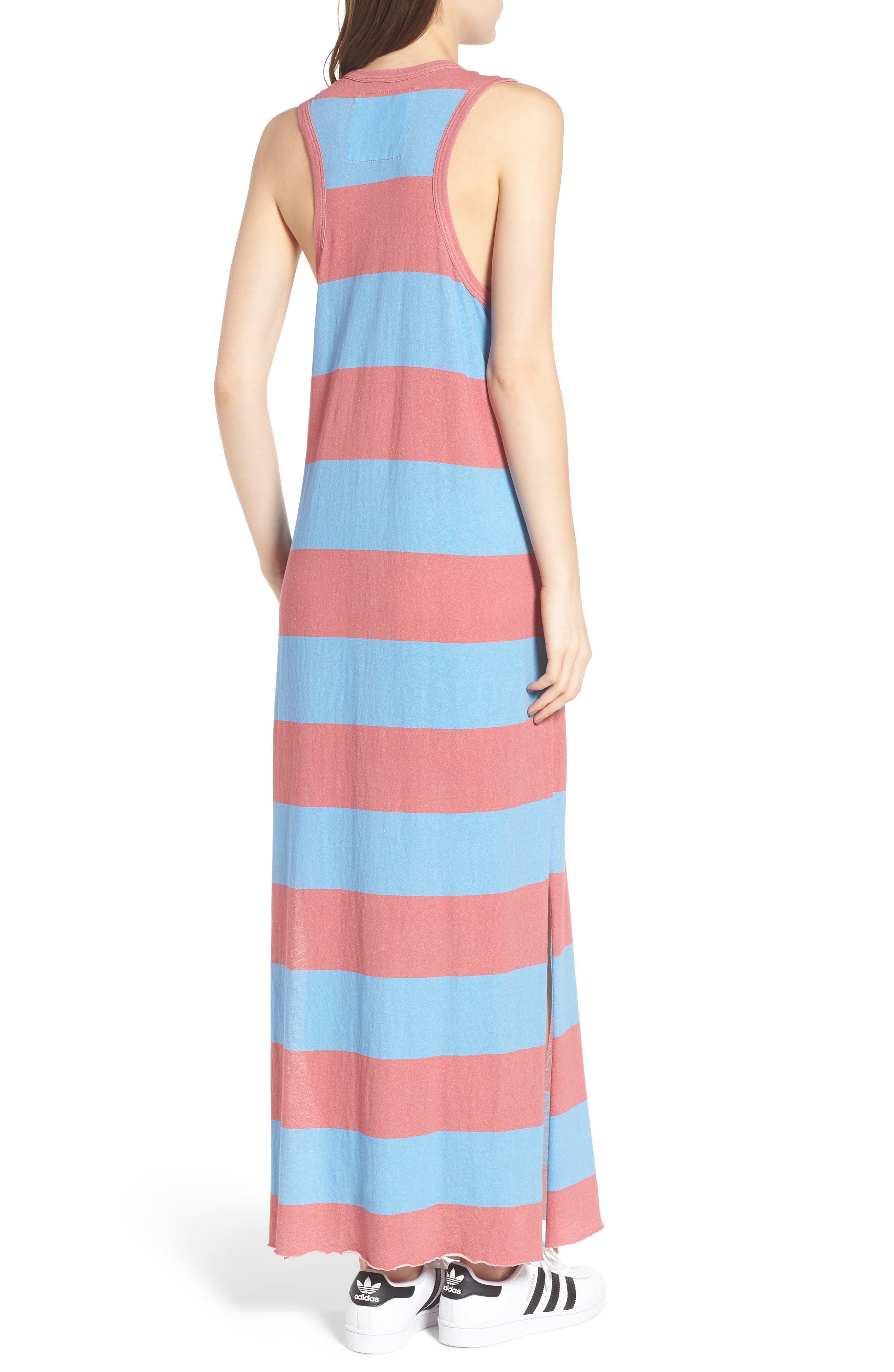 Stripe Muscle Maxi Dress,                             Alternate thumbnail 2, color,                             Red Rugby
