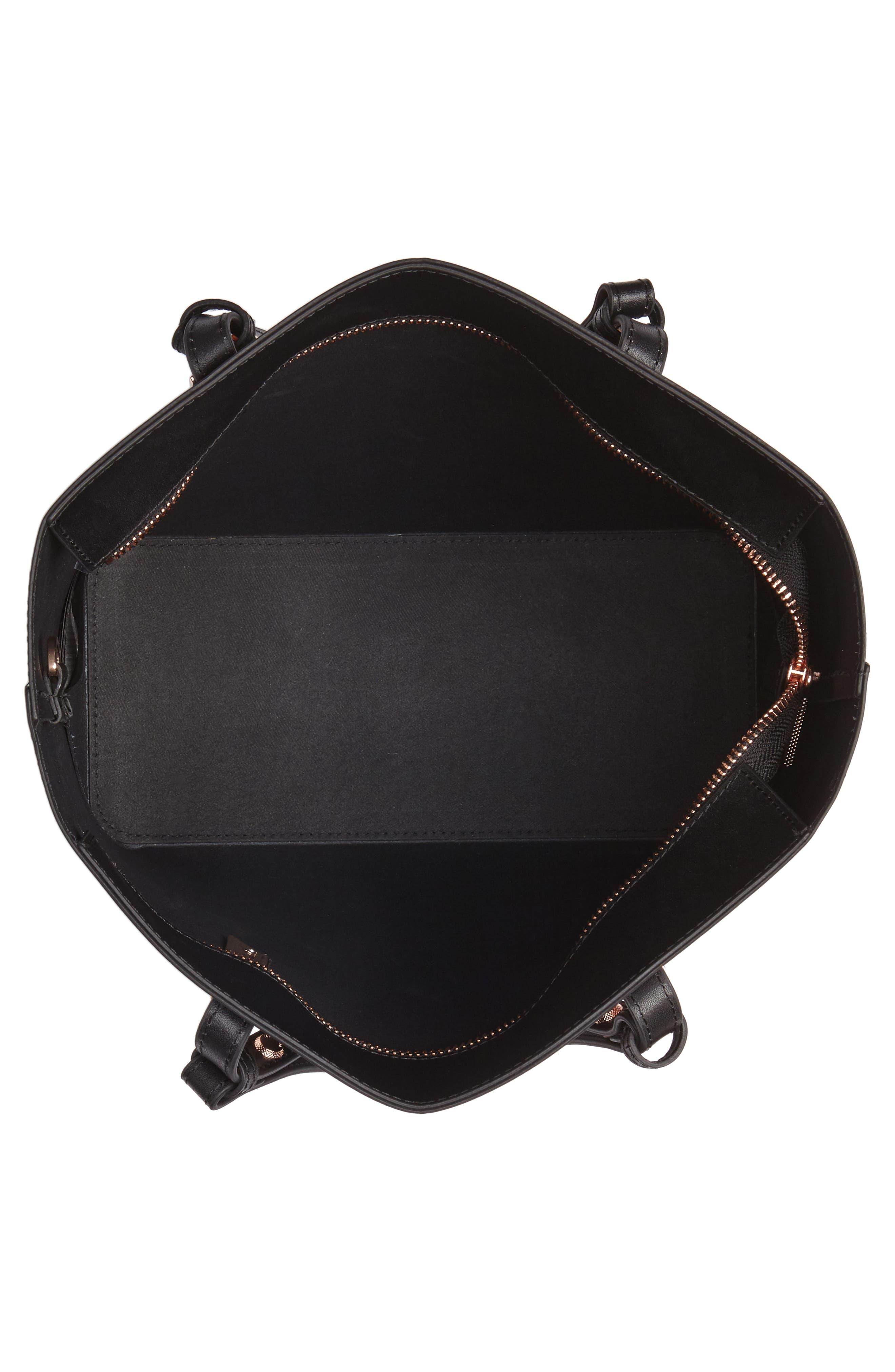 Jaceyy Adjustable Handle Leather Shopper,                             Alternate thumbnail 4, color,                             Black