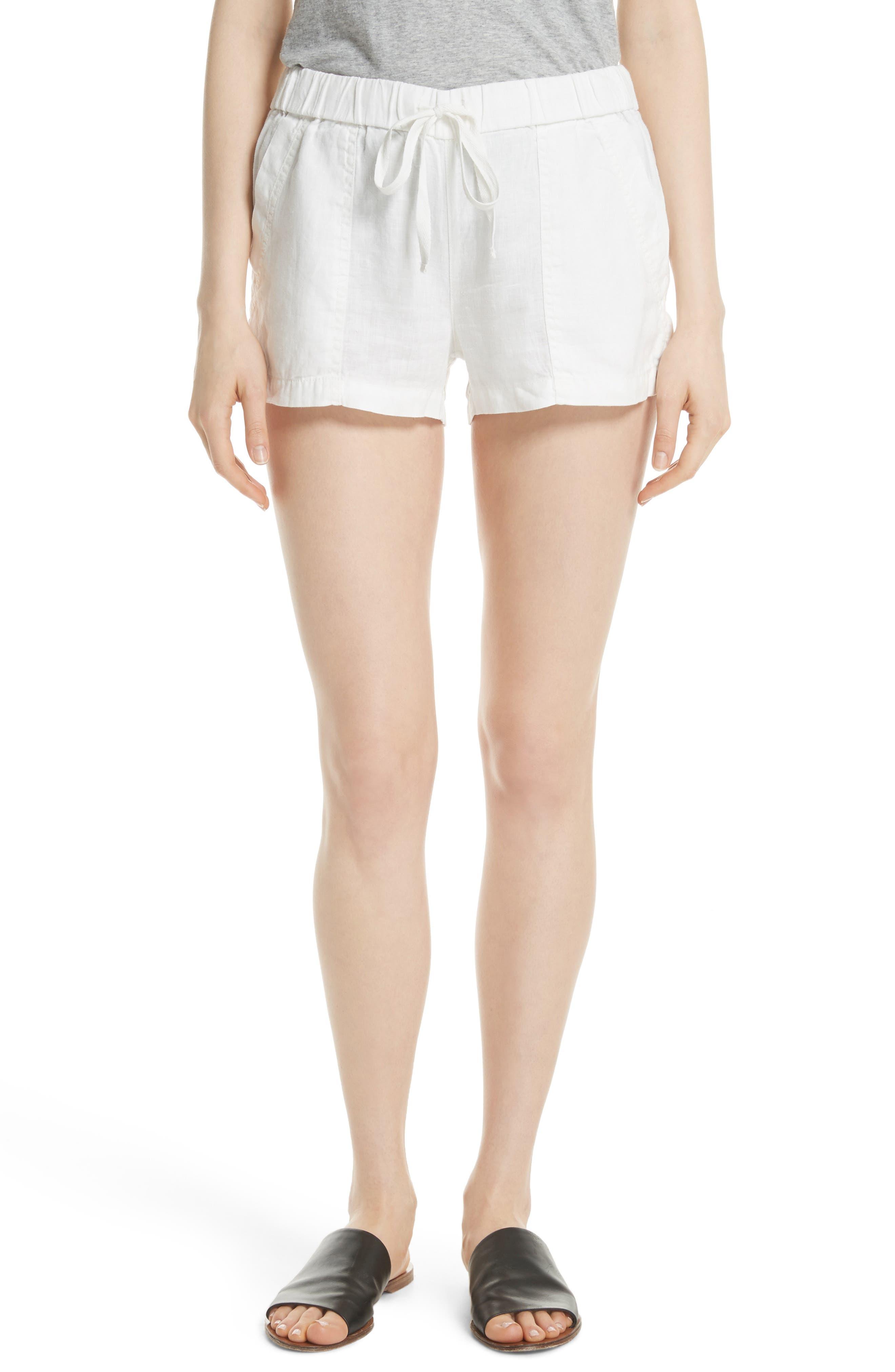 Fosette Linen Drawstring Shorts,                             Main thumbnail 1, color,                             Porcelain