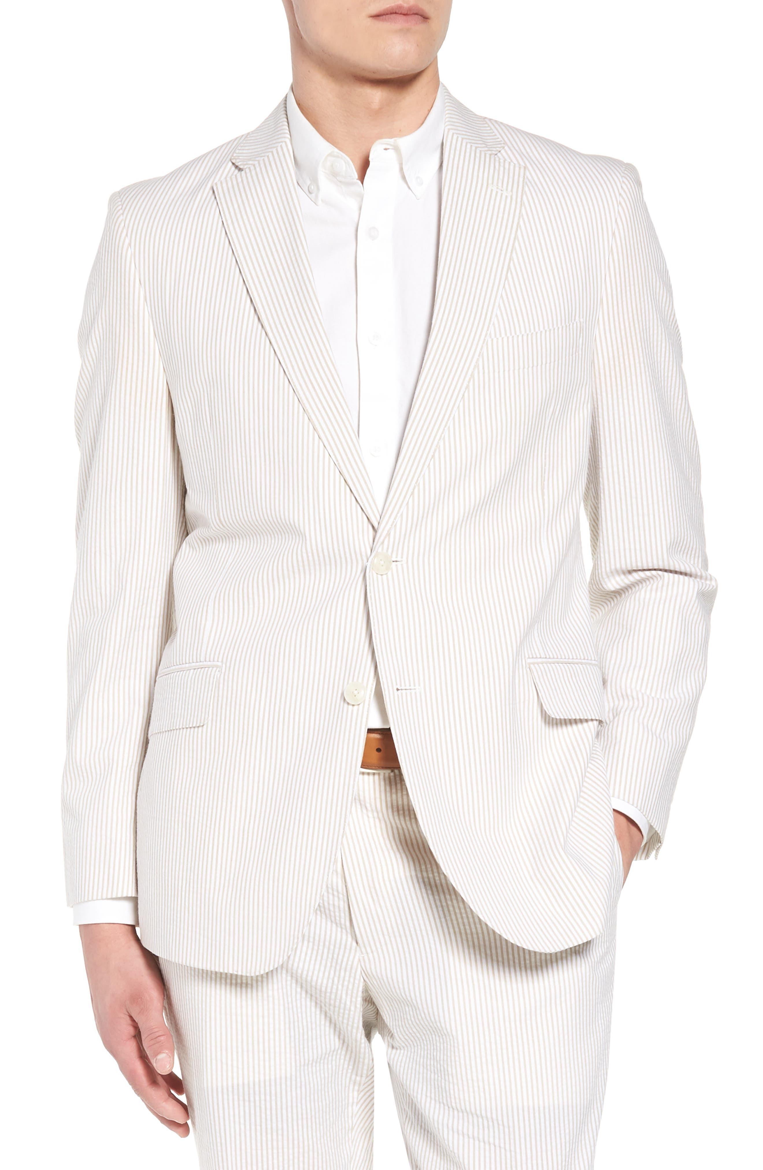Jack AIM Classic Fit Seersucker Sport Coat,                         Main,                         color, Tan And White