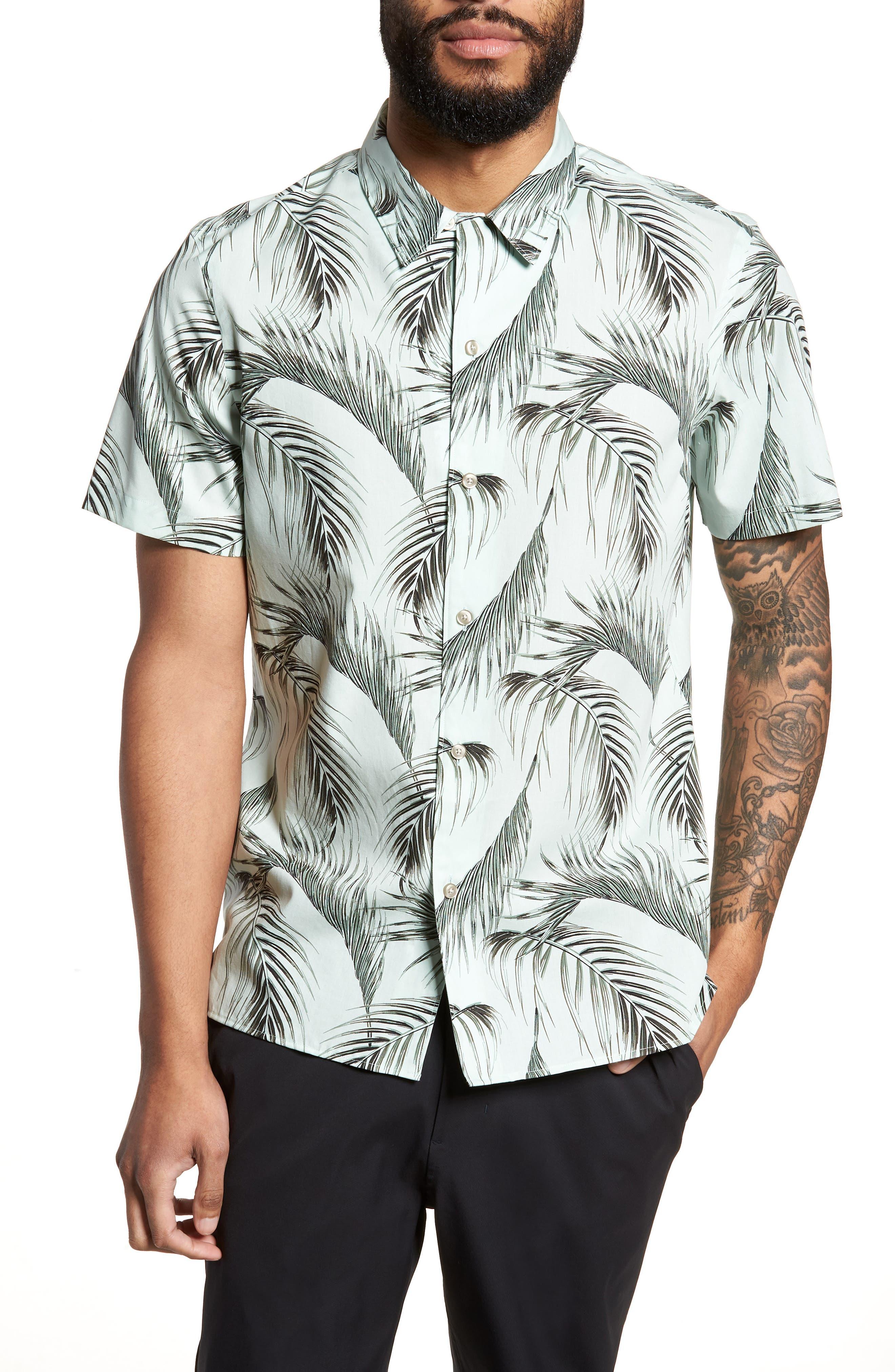Slim Fit Short Sleeve Print Camp Shirt,                         Main,                         color, Green Screen Palms