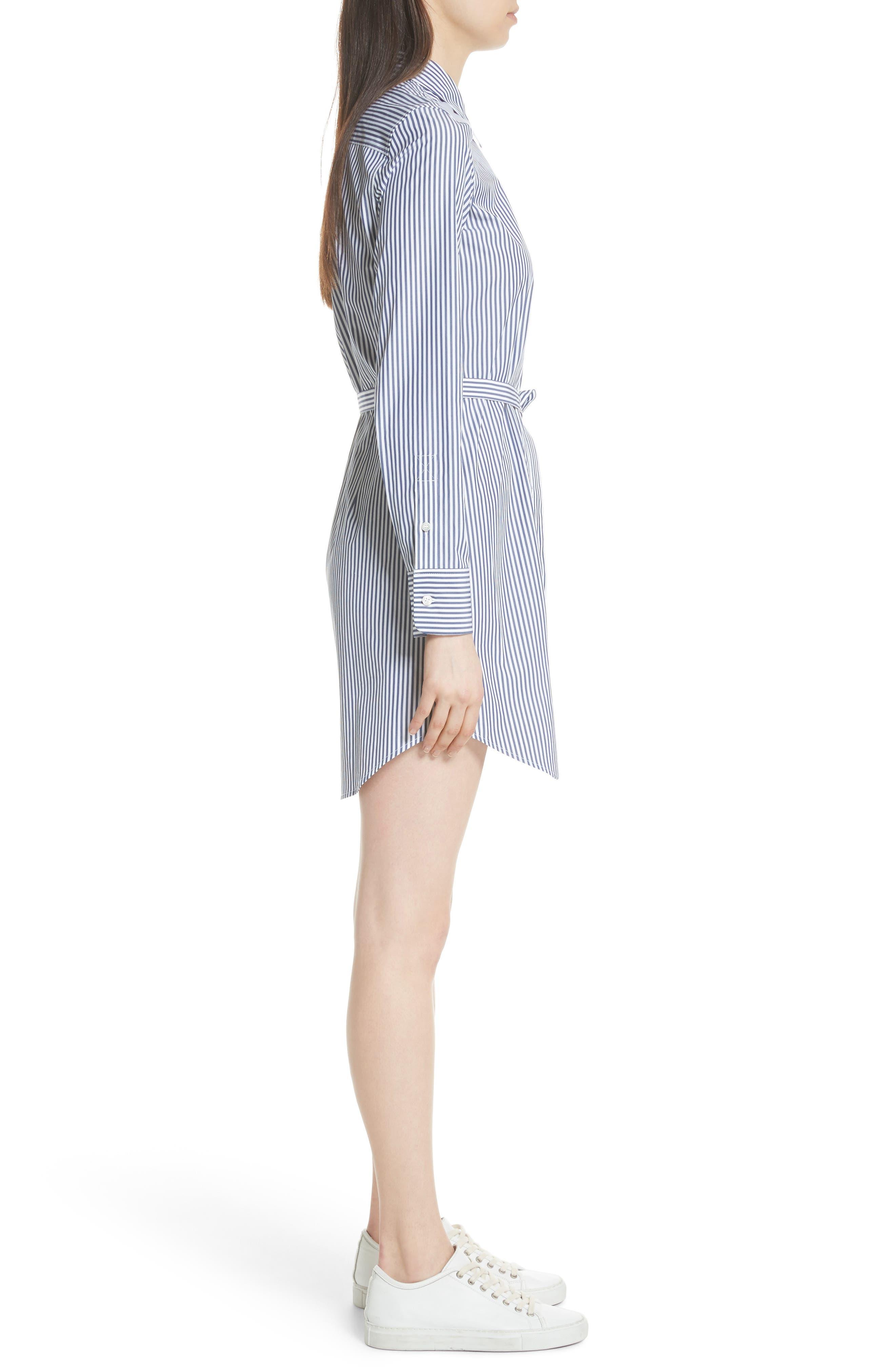 Clean Stripe Shirtdress,                             Alternate thumbnail 3, color,                             Blue/ White