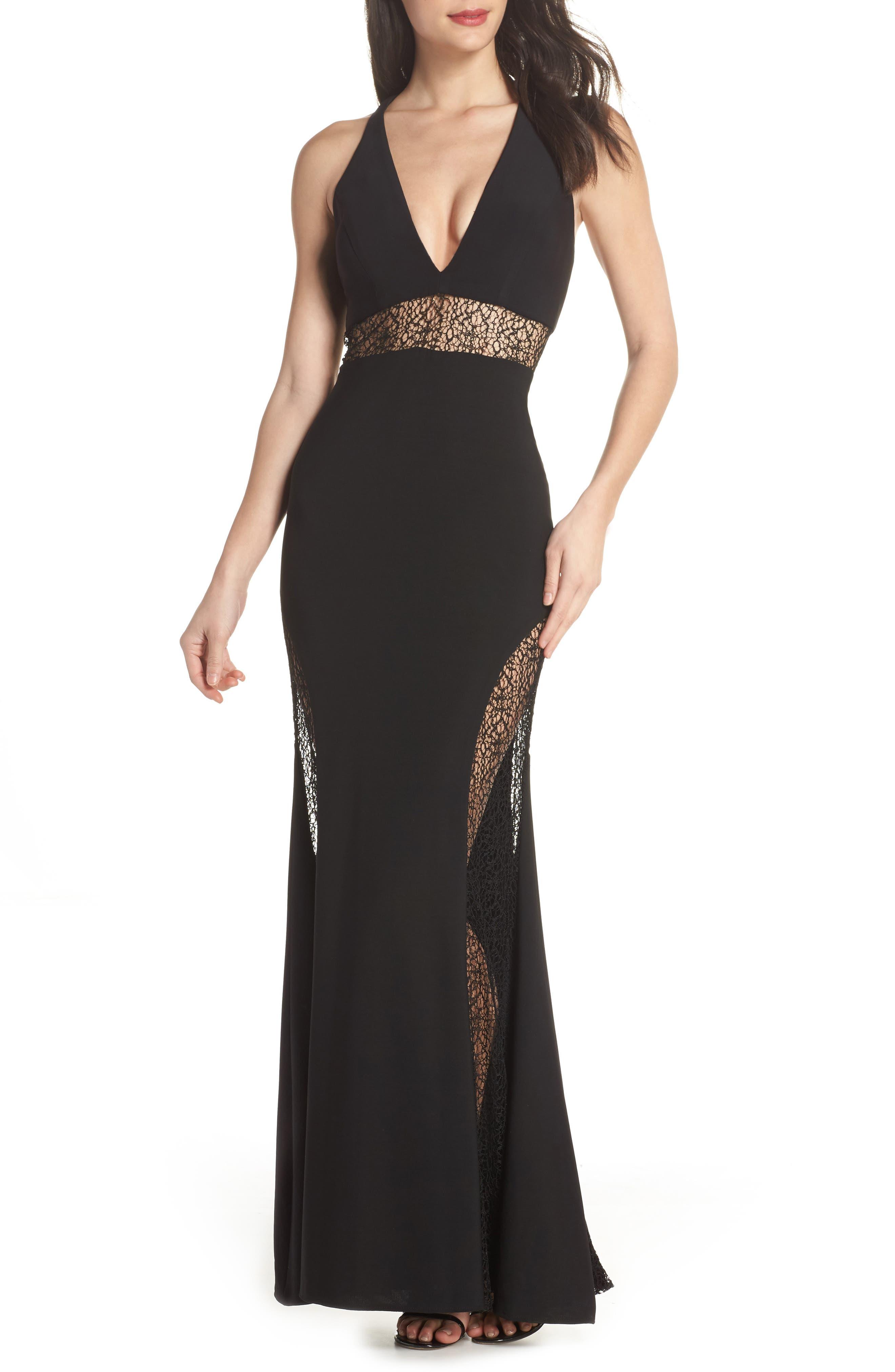 Lace Inset Gown,                             Main thumbnail 1, color,                             Black