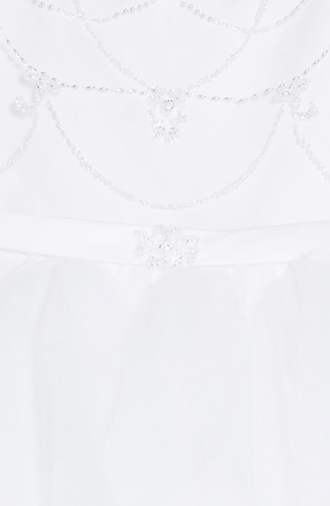 Beaded Organza & Tulle First Communion Dress,                             Alternate thumbnail 3, color,                             White