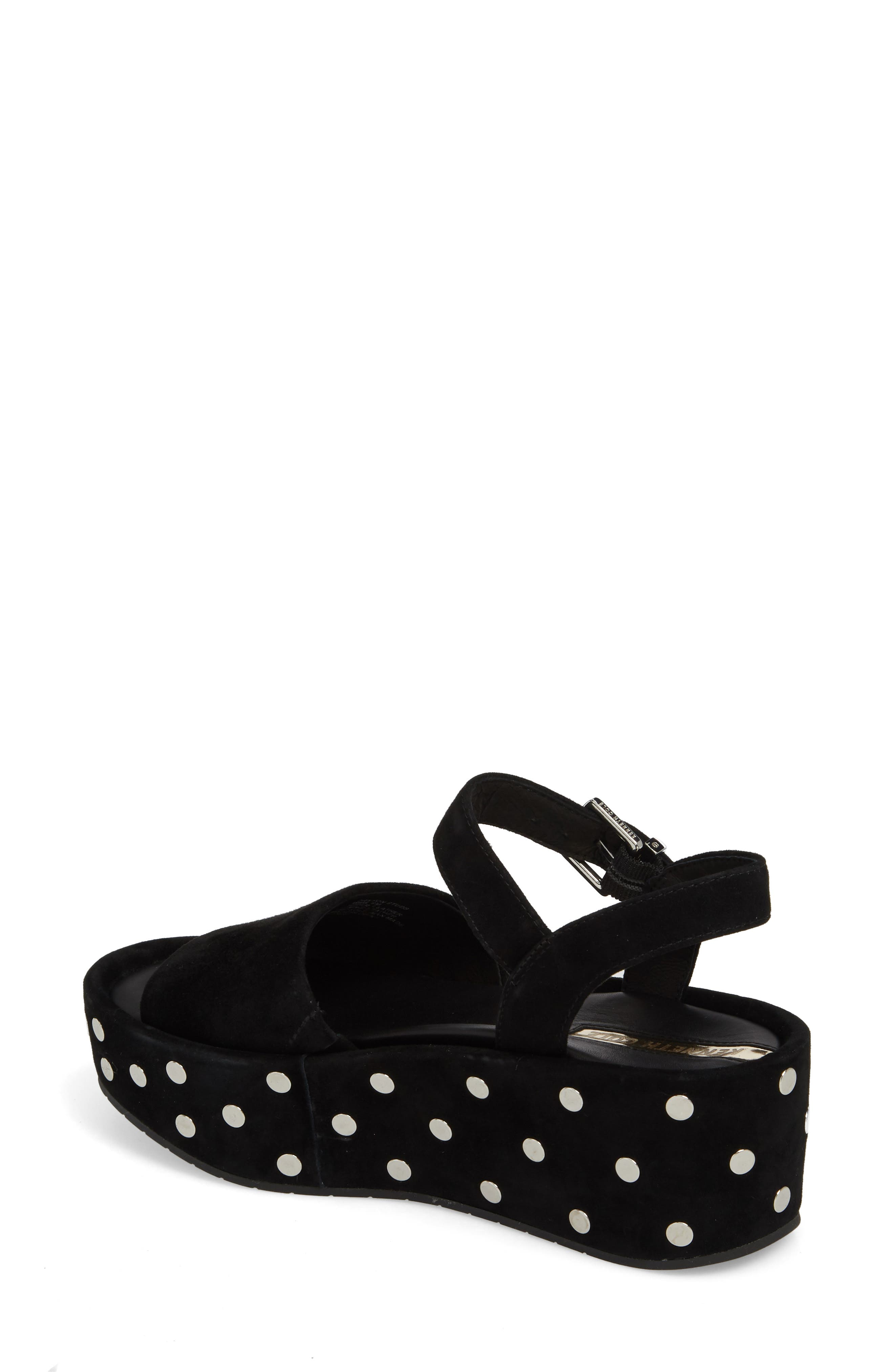 Danton Studs Platform Sandal,                             Alternate thumbnail 2, color,                             Black Suede