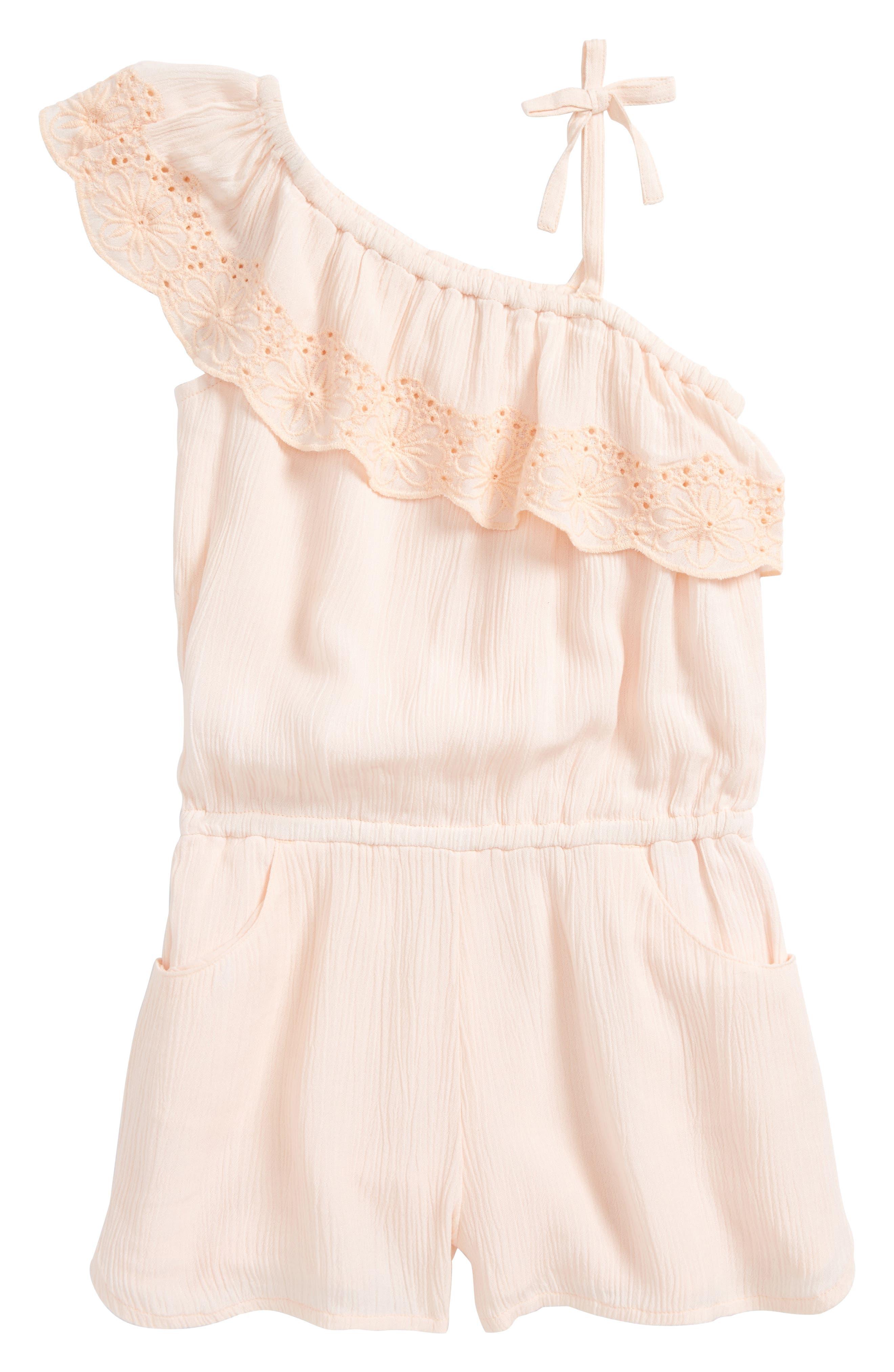 Lanai One-Shoulder Romper,                         Main,                         color, Peach Blush
