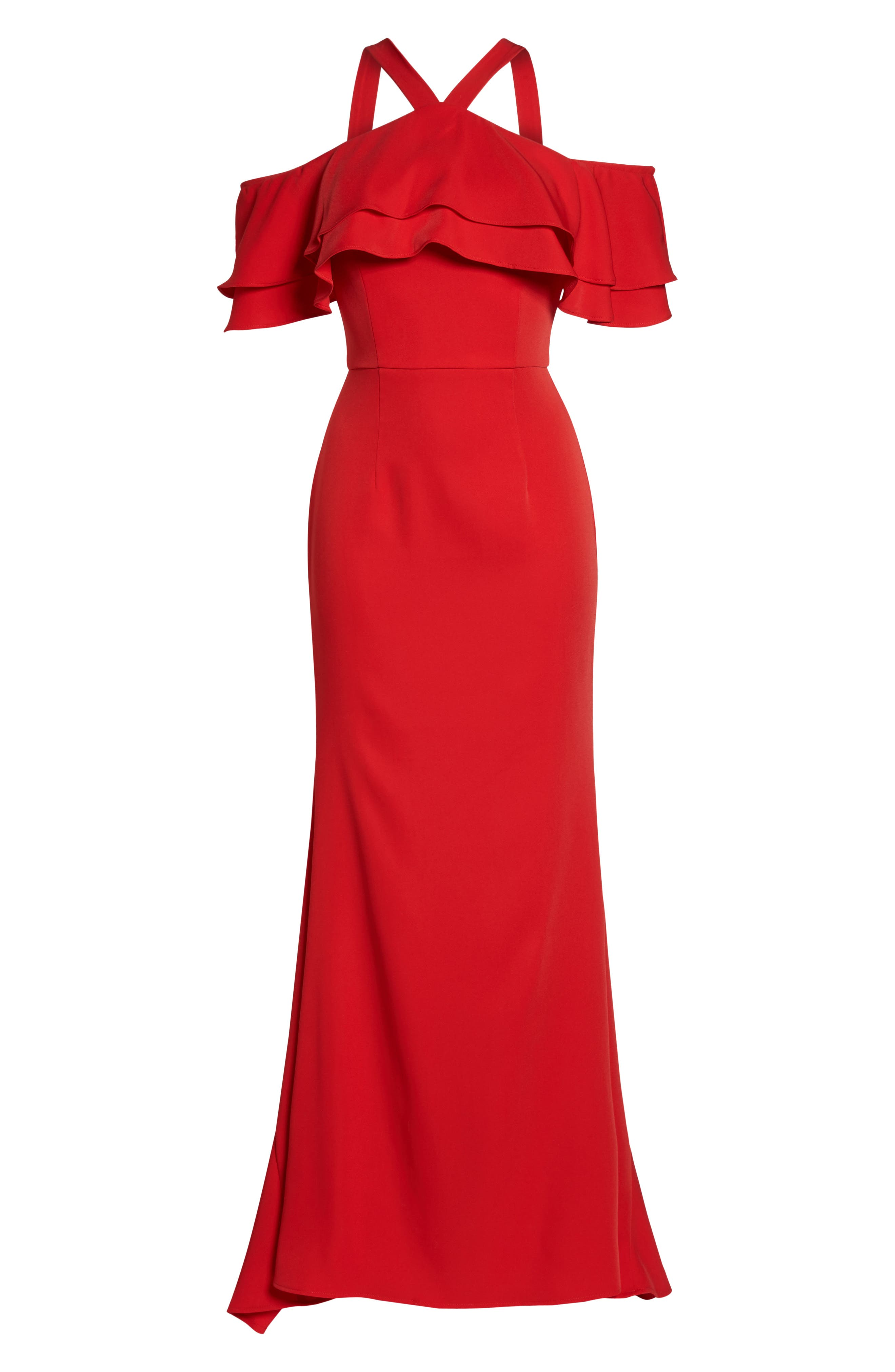 Dianne Ruffle Top Halter Gown,                             Alternate thumbnail 6, color,                             Red