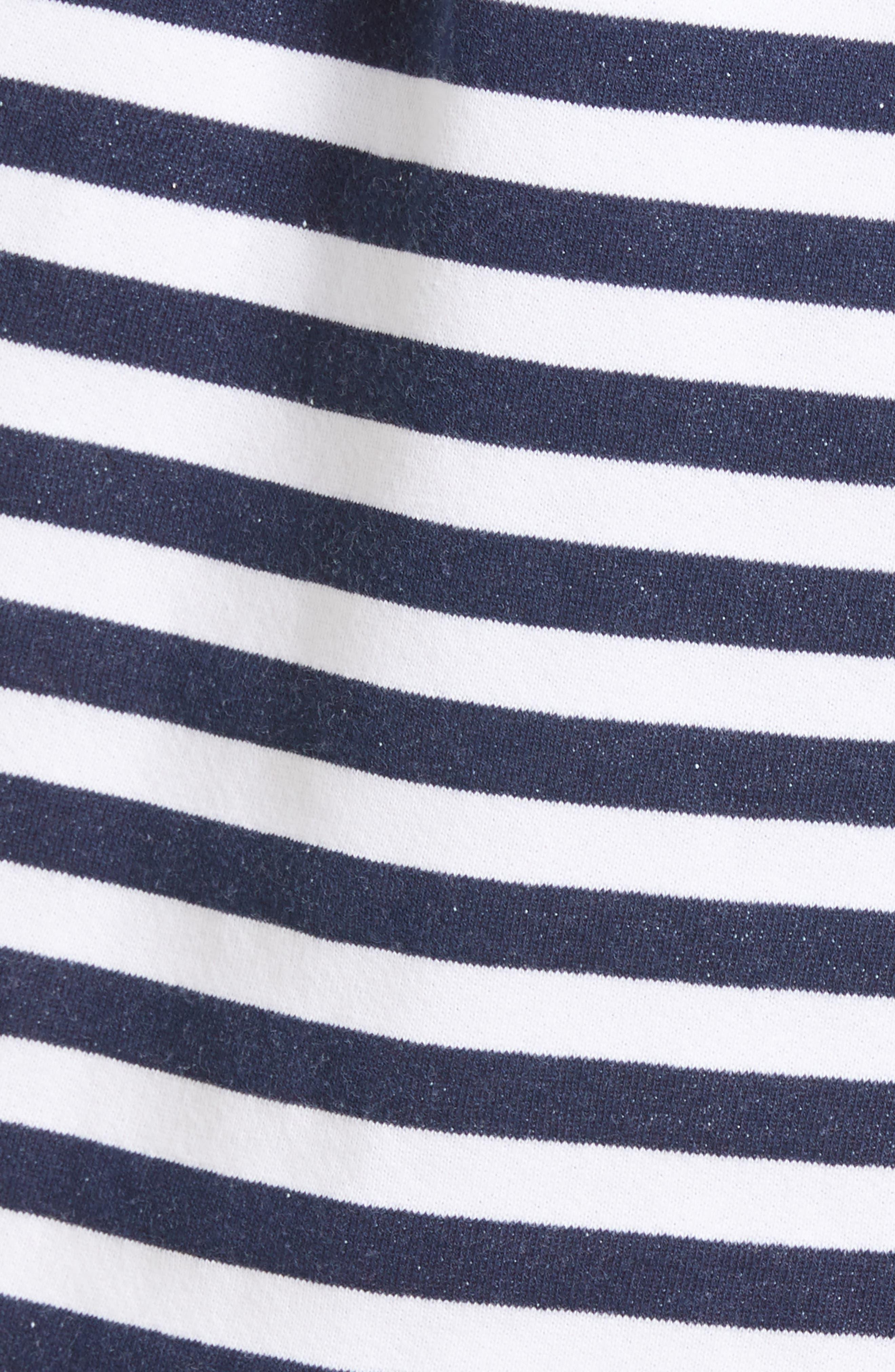 Pleat Back Minidress,                             Alternate thumbnail 5, color,                             Navy/ Ivory Stripe
