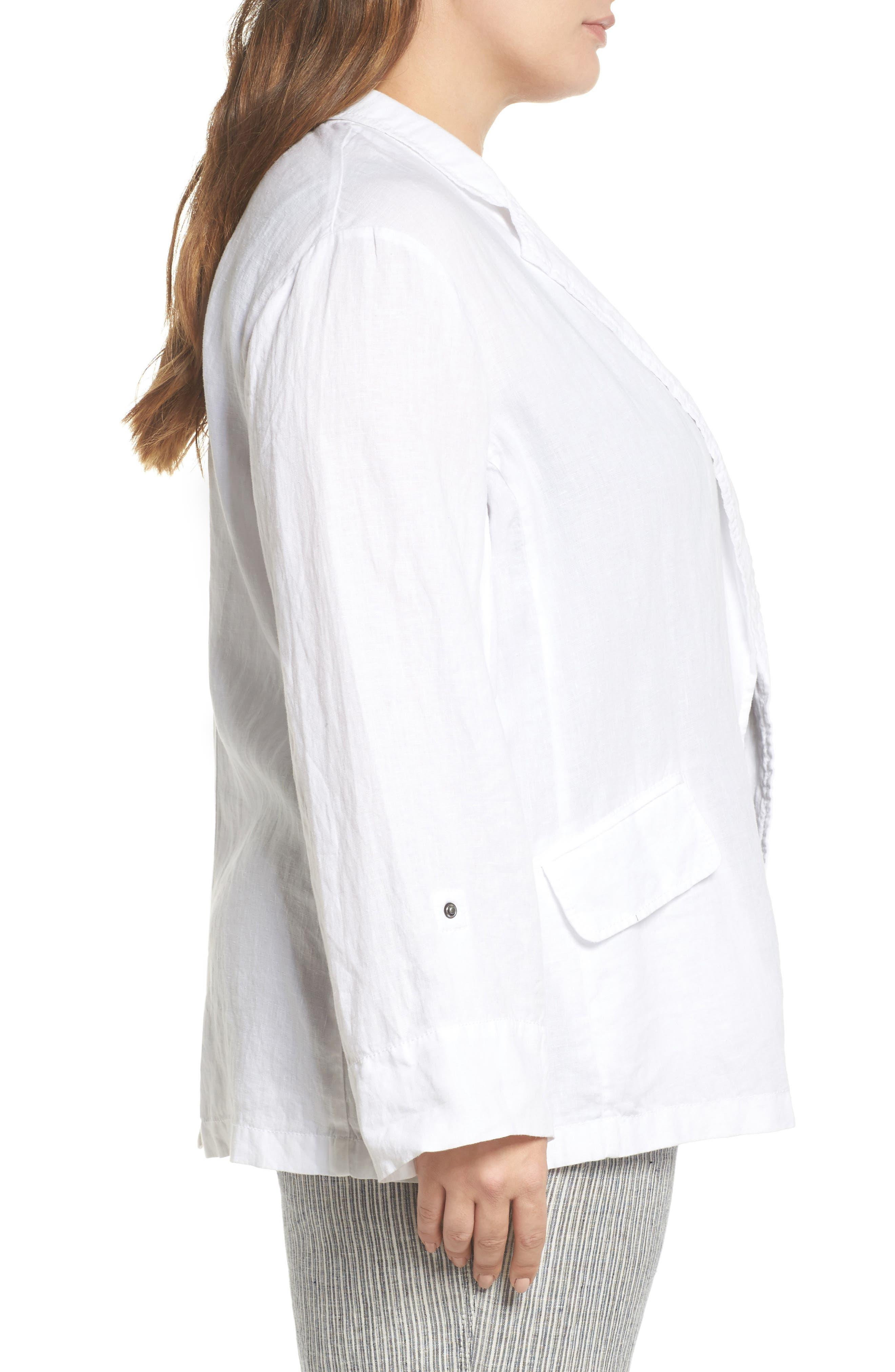 Long Linen Boyfriend Blazer,                             Alternate thumbnail 3, color,                             White