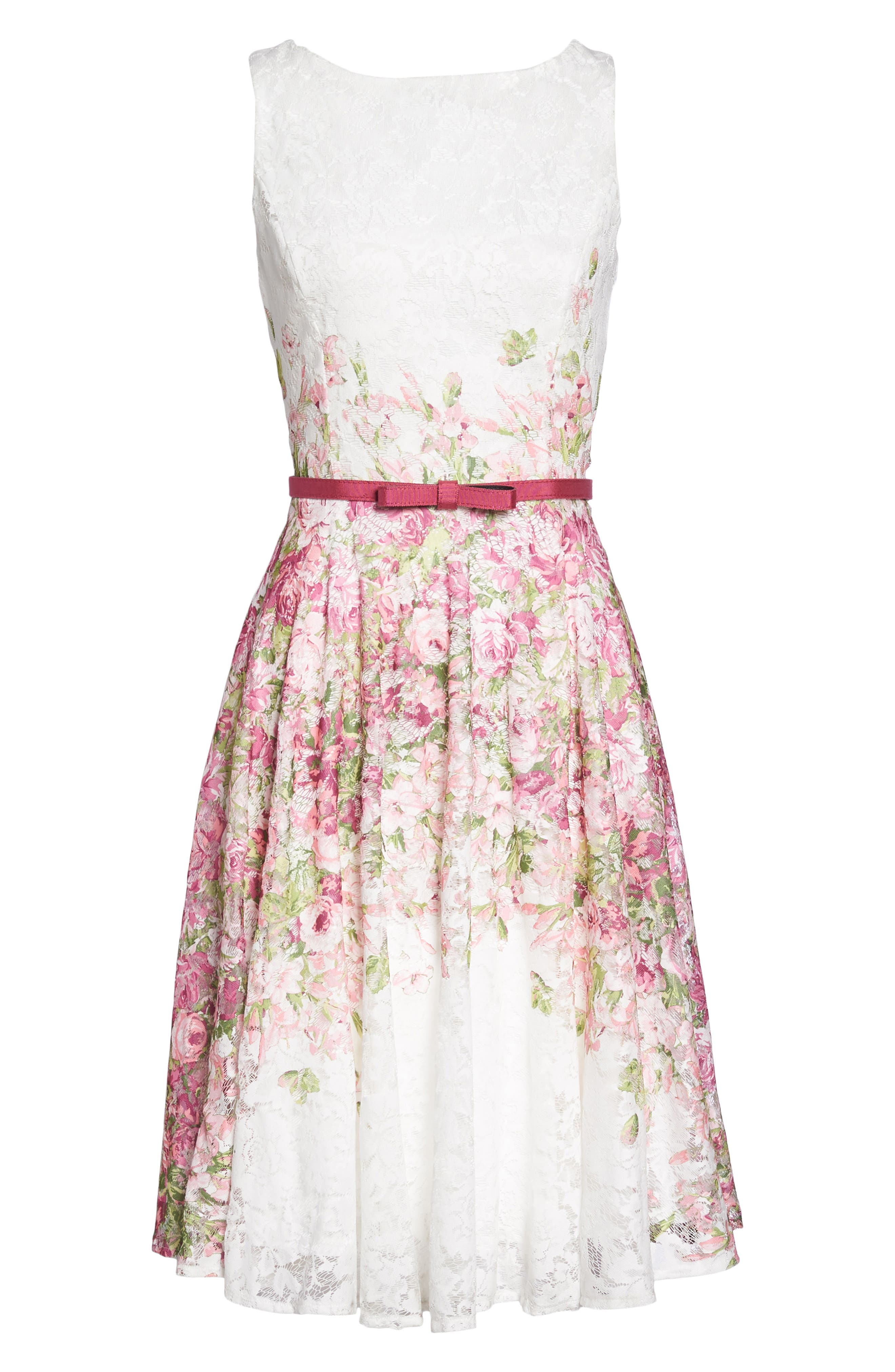 Belted Floral Lace Fit & Flare Dress,                             Alternate thumbnail 6, color,                             Pink Multi