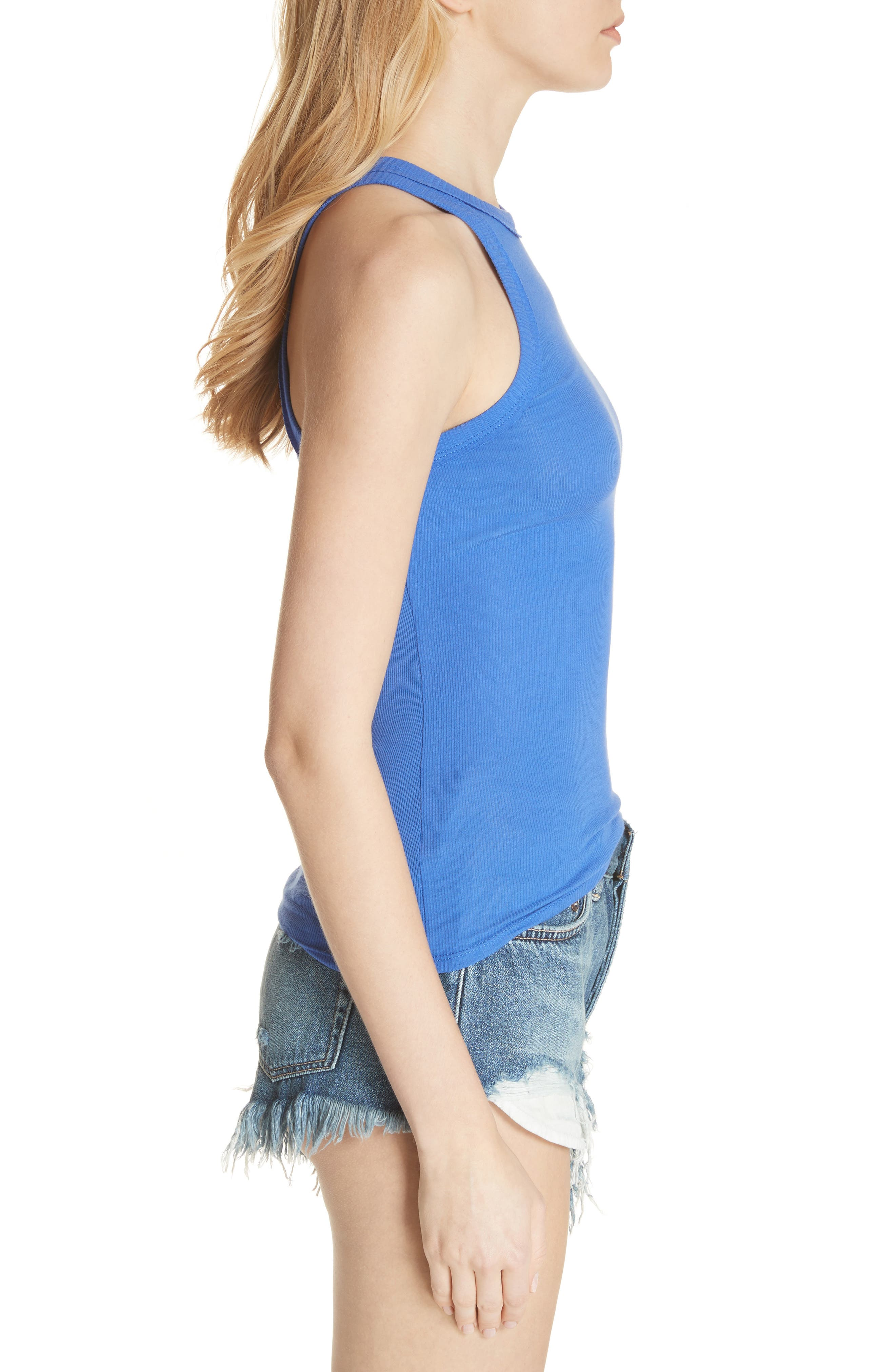 Wide Eyed Racerback Tank,                             Alternate thumbnail 3, color,                             Sapphire