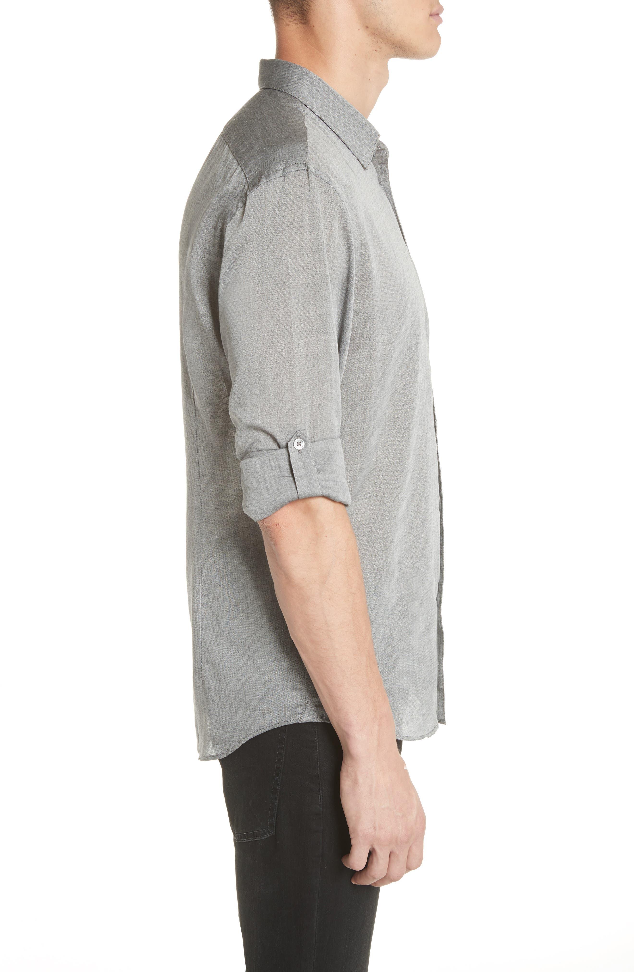 Slim Fit Roller Long Sleeve Shirt,                             Alternate thumbnail 3, color,                             Grey Hthr