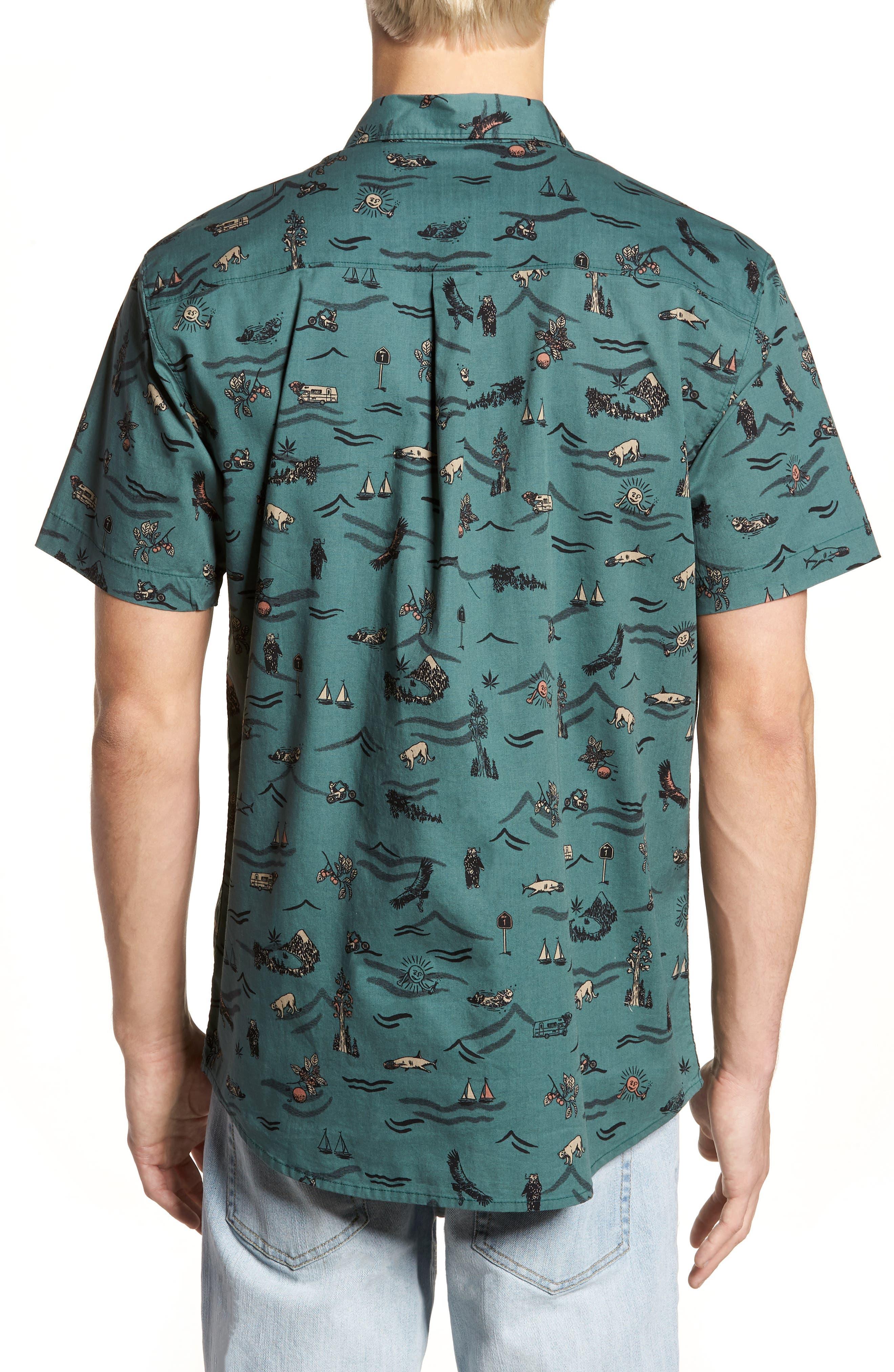 Squawk Short Sleeve Shirt,                             Alternate thumbnail 2, color,                             Pine