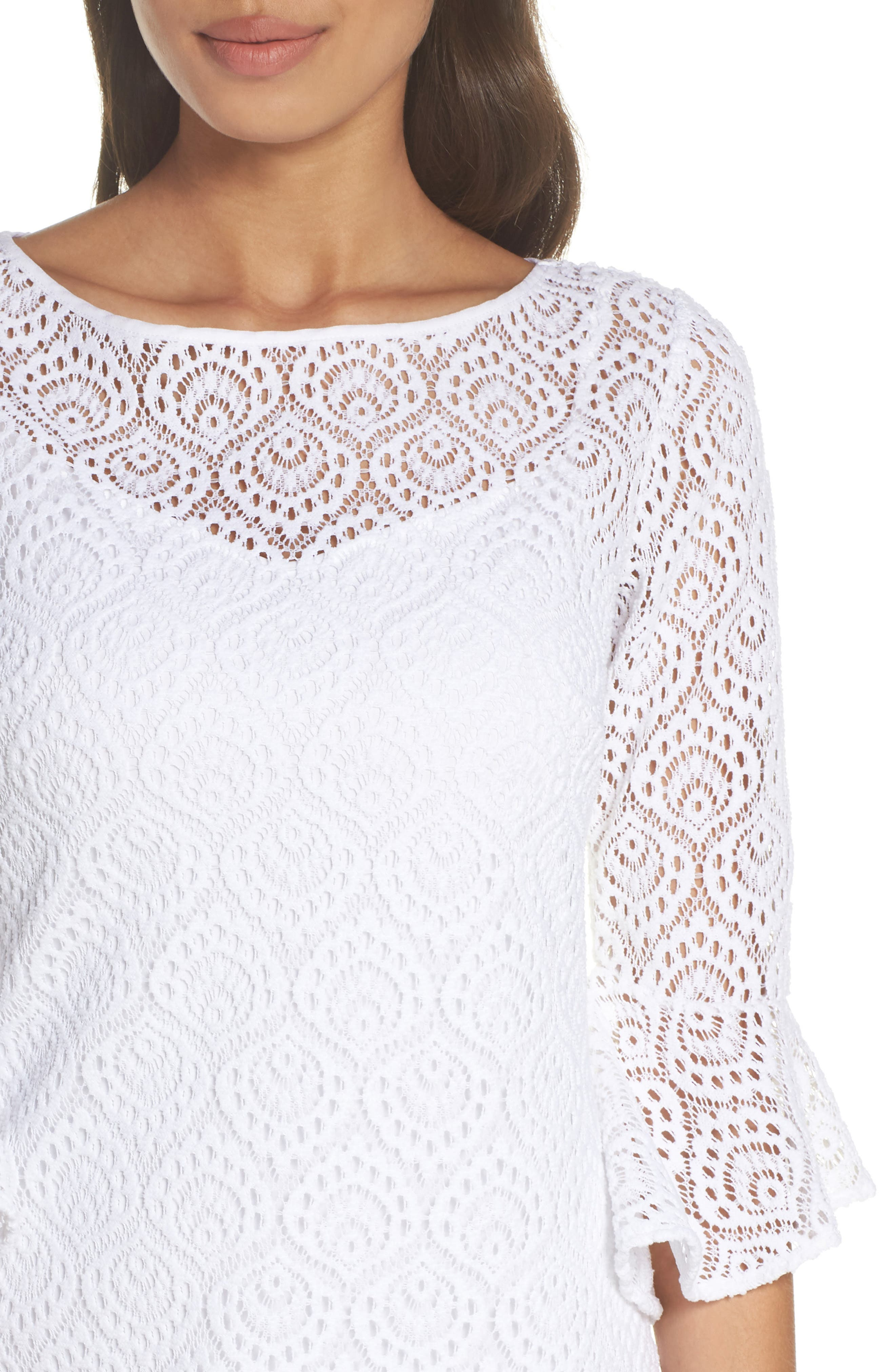 Fontaine Lace Minidress,                             Alternate thumbnail 4, color,                             Resort White Gypsea Lace