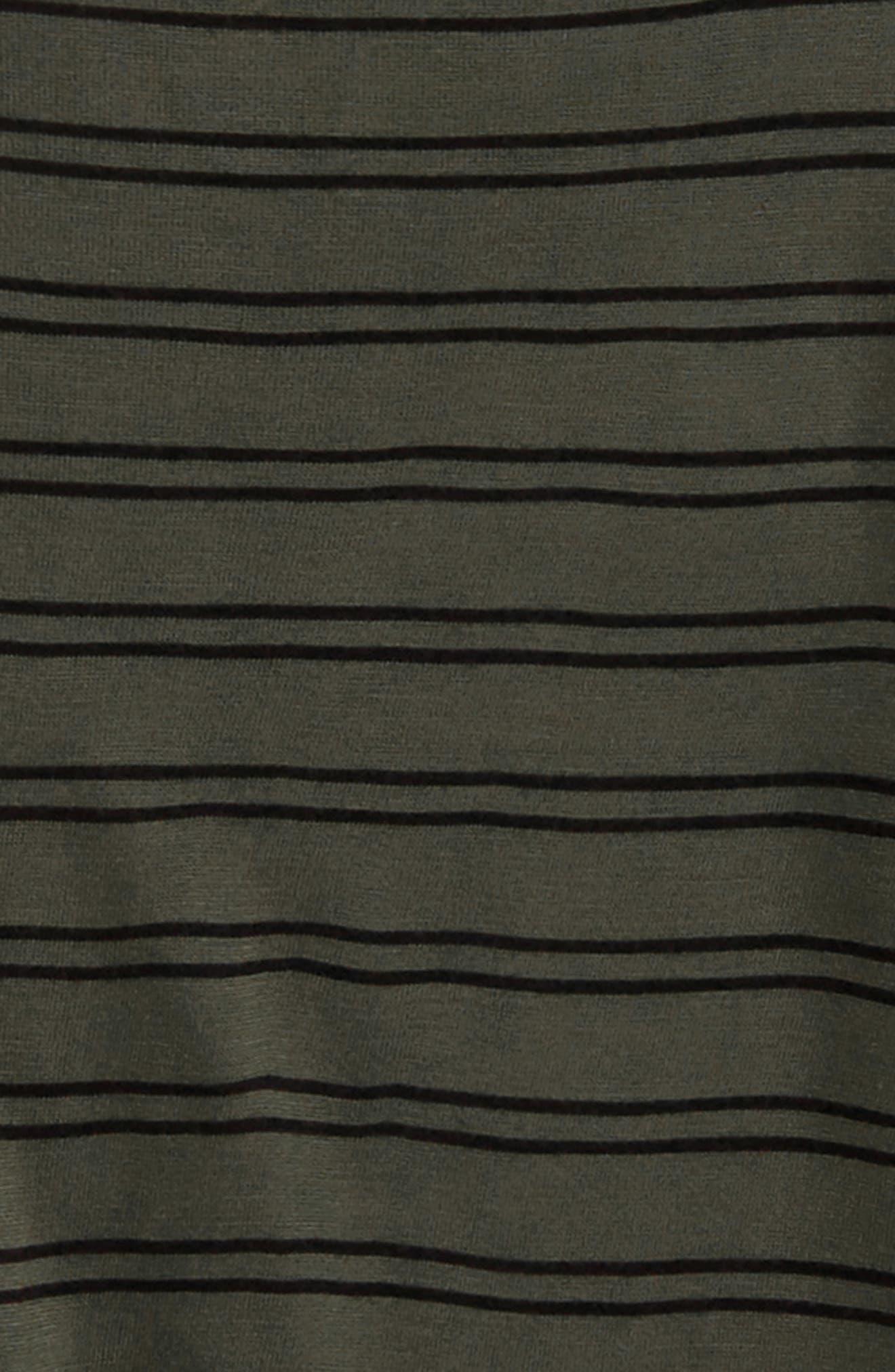 Tie Sleeve Tee,                             Alternate thumbnail 2, color,                             Olive Sarma- Black Stripe