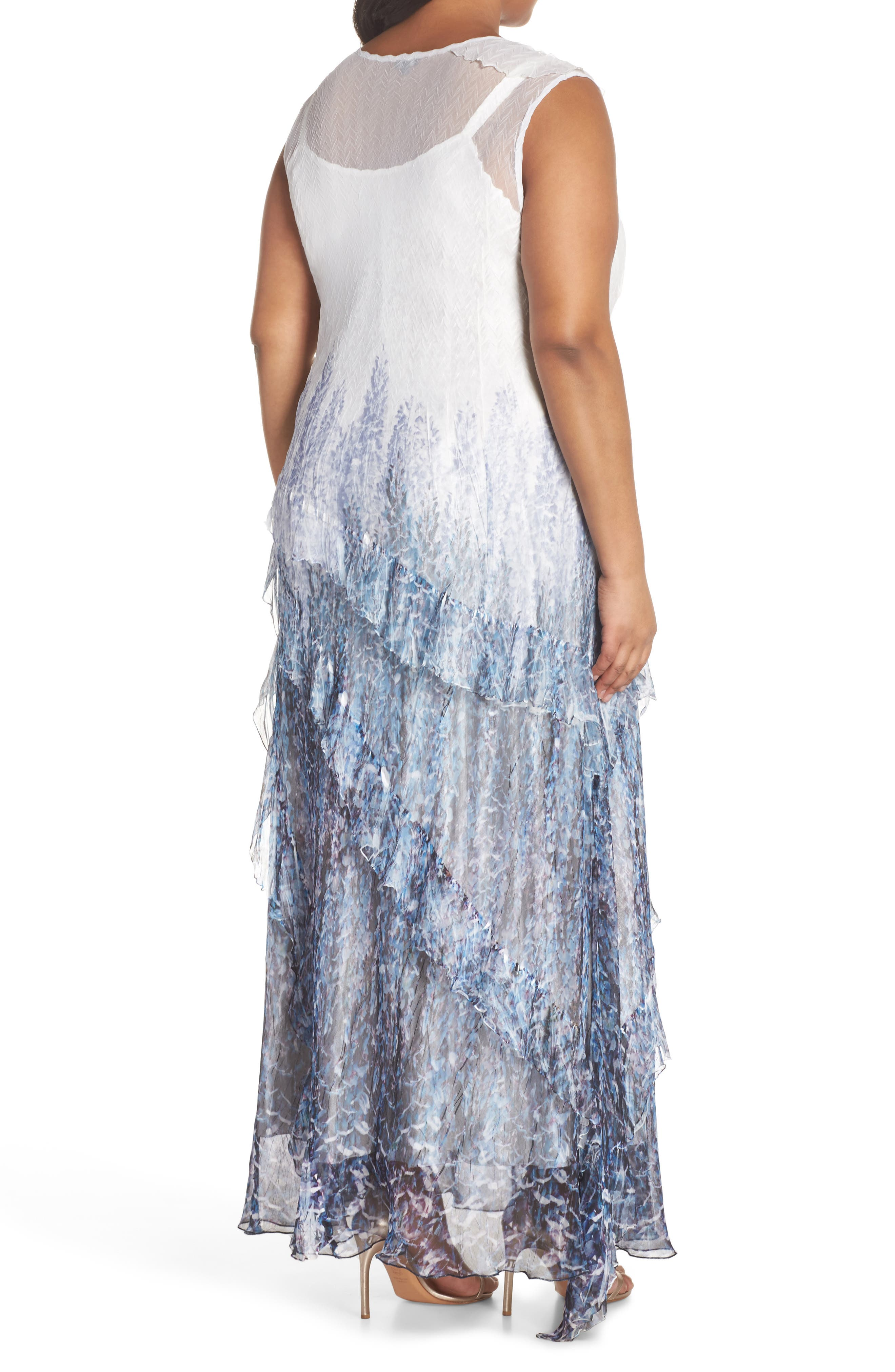 Ruffle Charmeuse & Chiffon Gown with Wrap,                             Alternate thumbnail 2, color,                             Lupine Fields