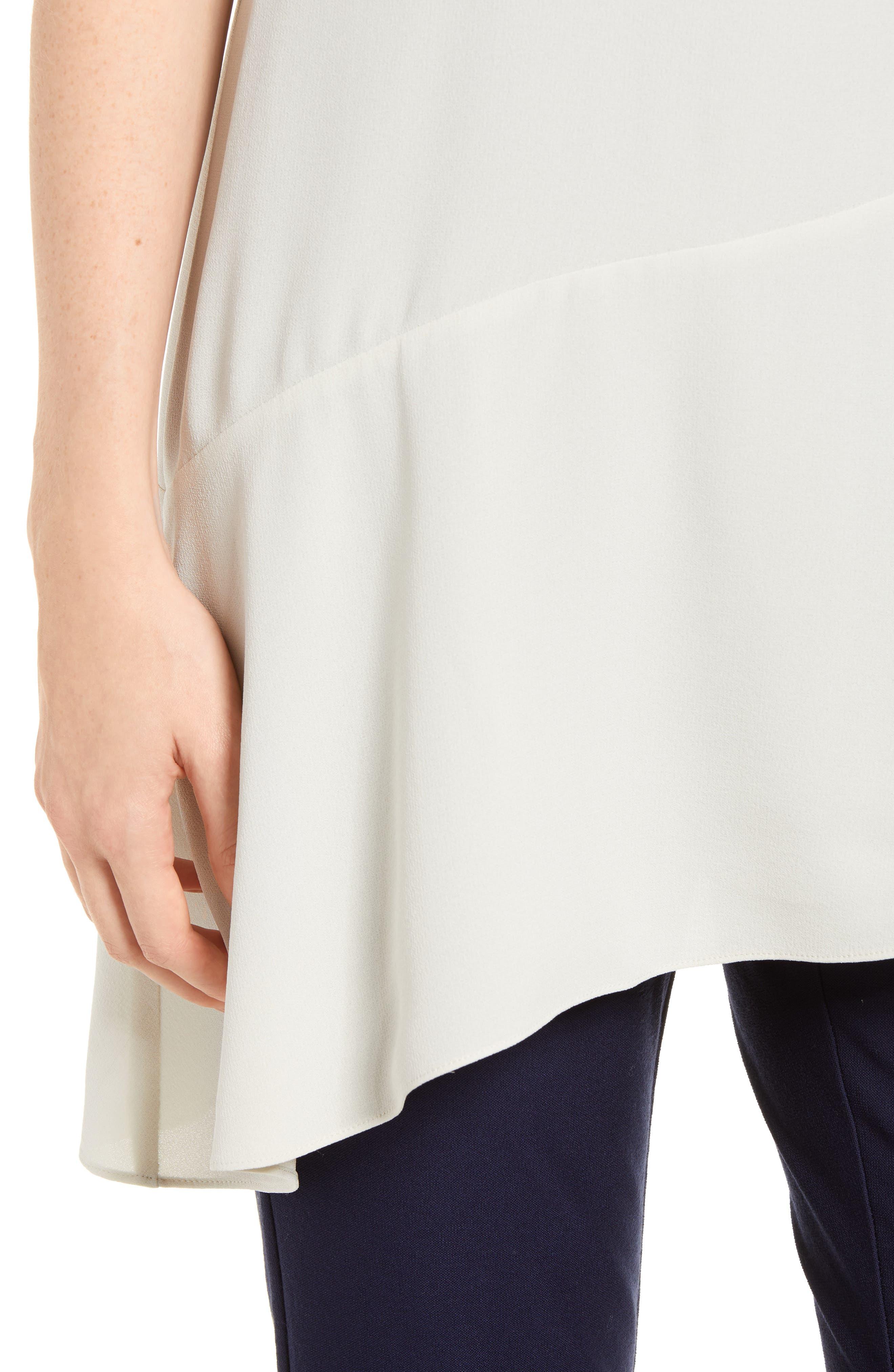 Asymmetrical Silk Top,                             Alternate thumbnail 4, color,                             Bone