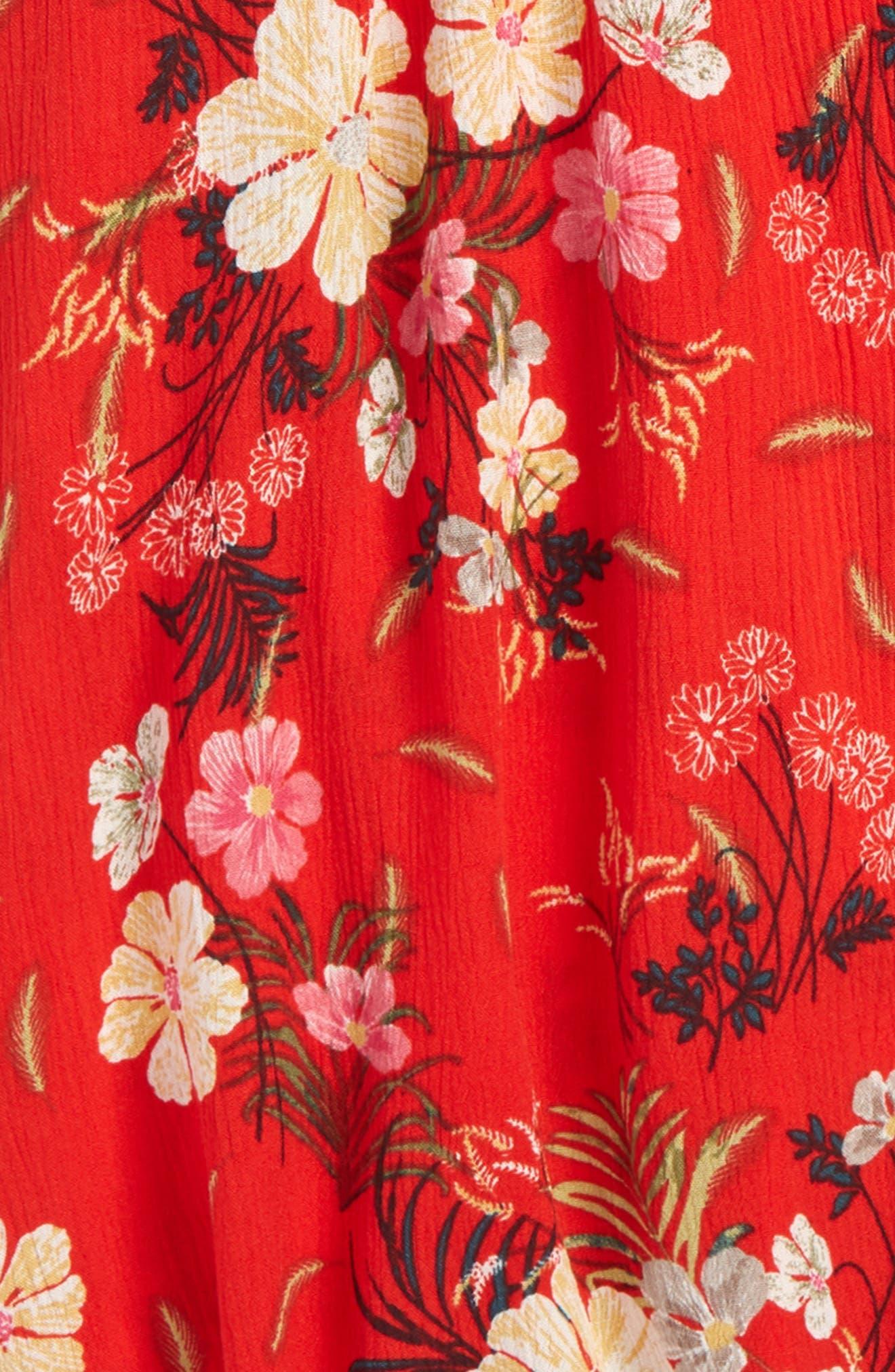 Caroline Floral Skirt,                             Alternate thumbnail 2, color,                             Poppy Red