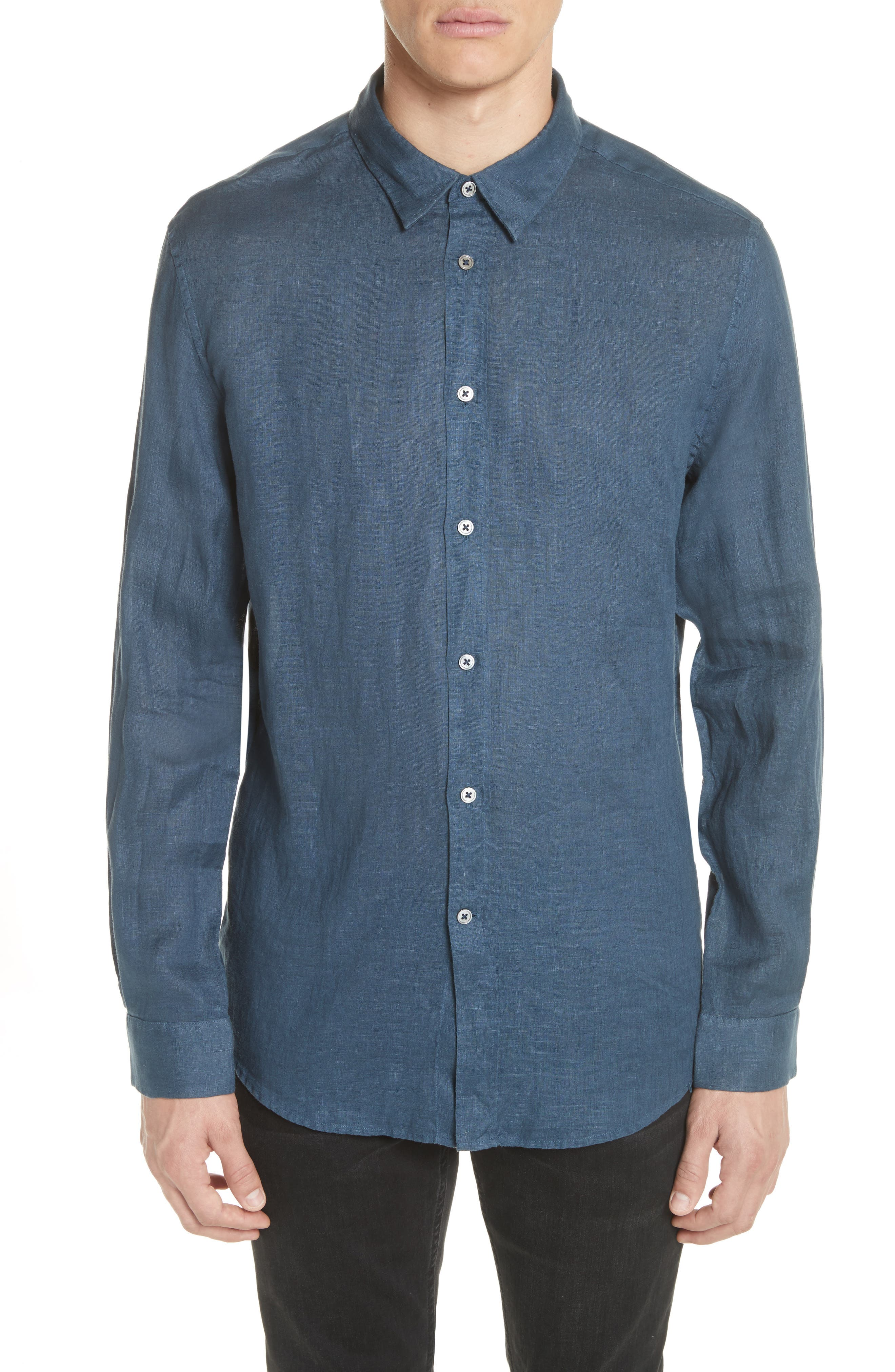 Collection Garment Dyed Linen Shirt,                         Main,                         color, Lake Blue