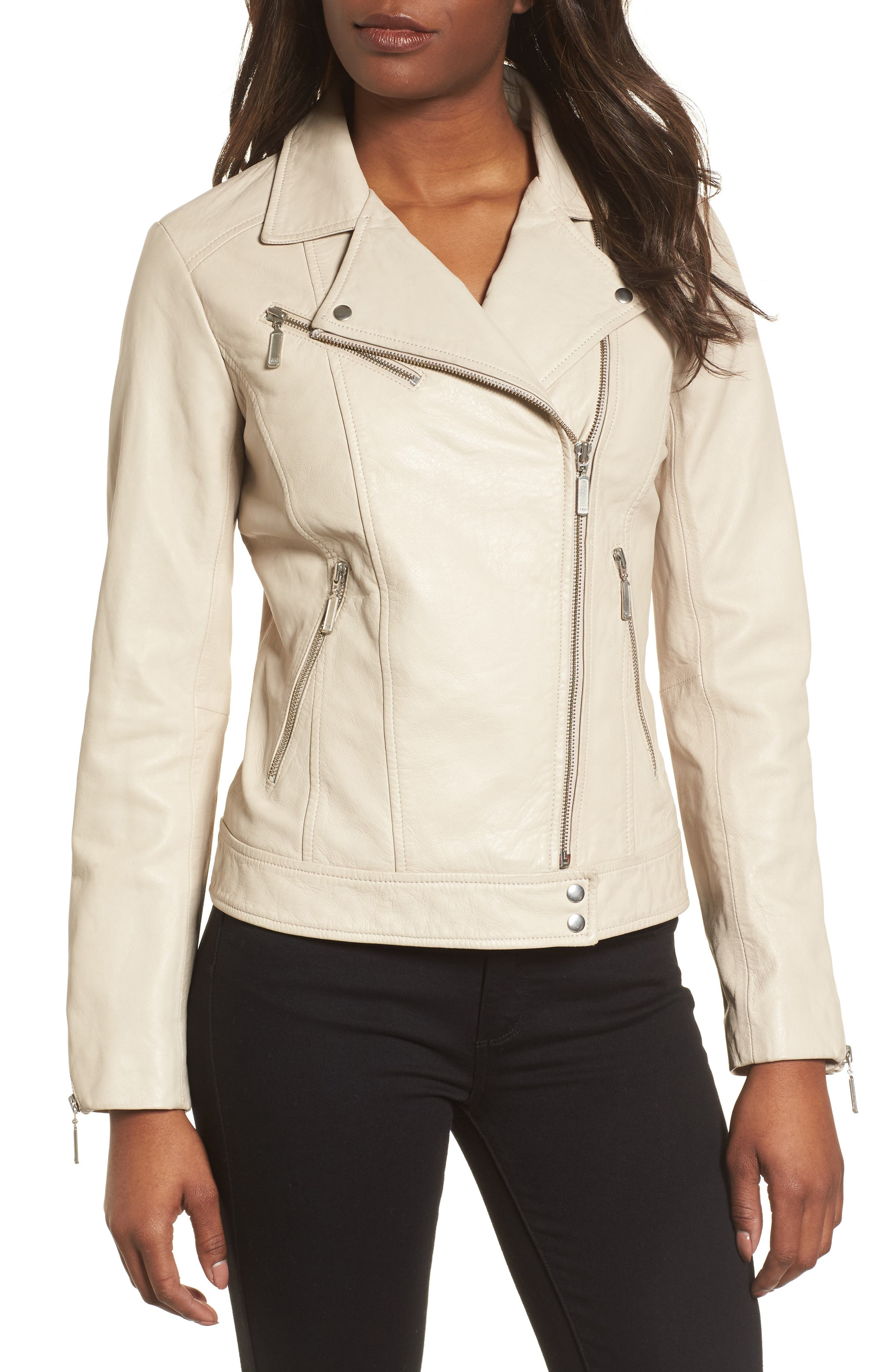 Moto Zip Leather Jacket,                             Alternate thumbnail 4, color,                             Champagne
