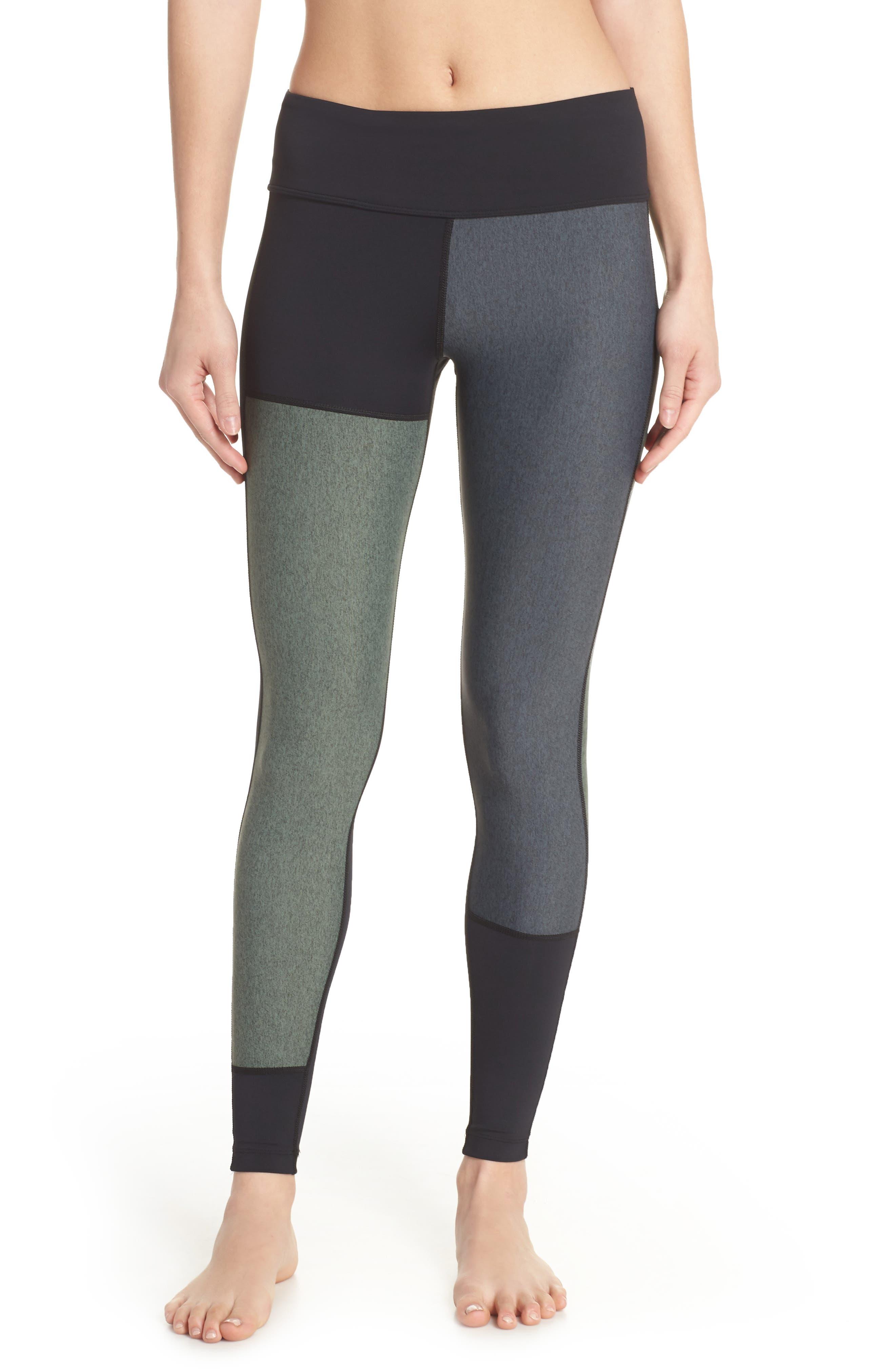 Patchwork Leggings,                         Main,                         color, Black/ Moss/ Heather
