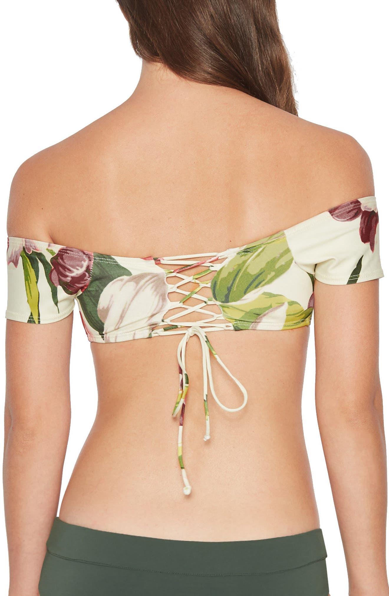 Hawaiian Floral Off the Shoulder Bikini Top,                             Alternate thumbnail 2, color,                             Multi