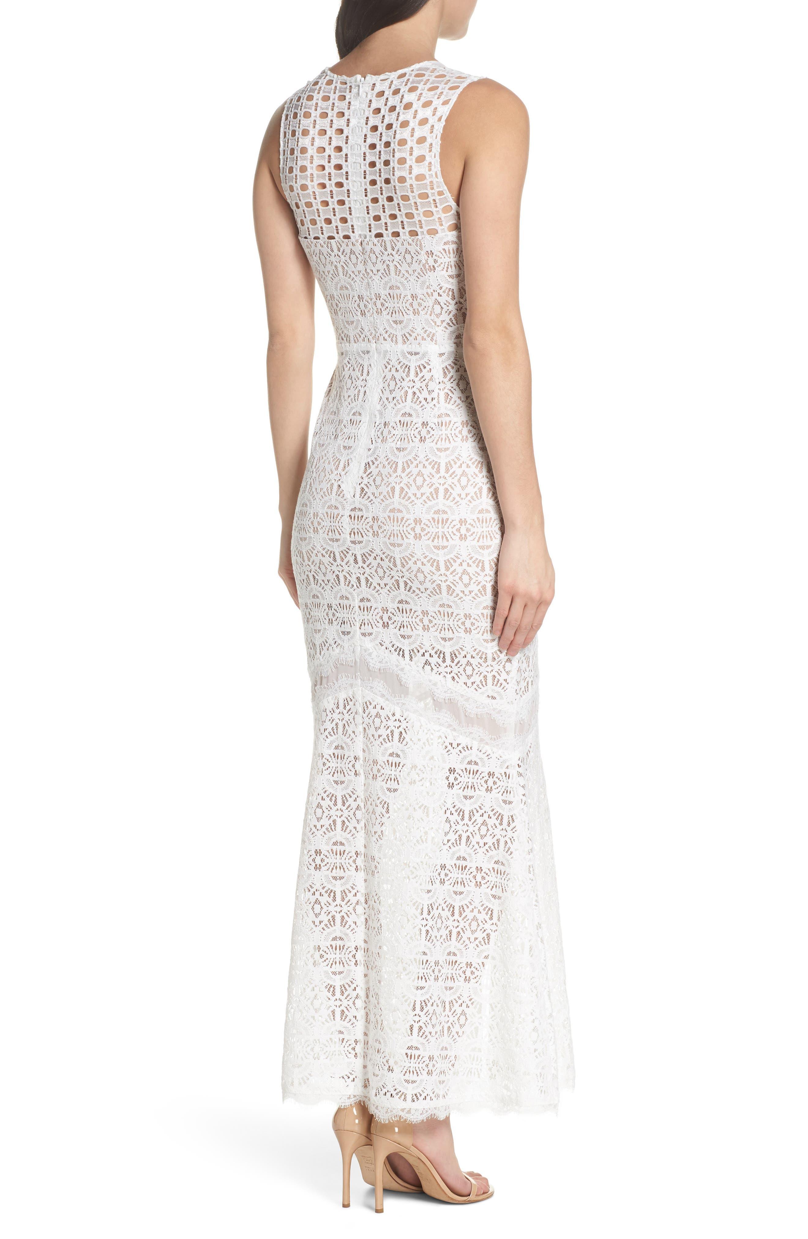 V-Neck Lace Trumpet Gown,                             Alternate thumbnail 2, color,                             Off White