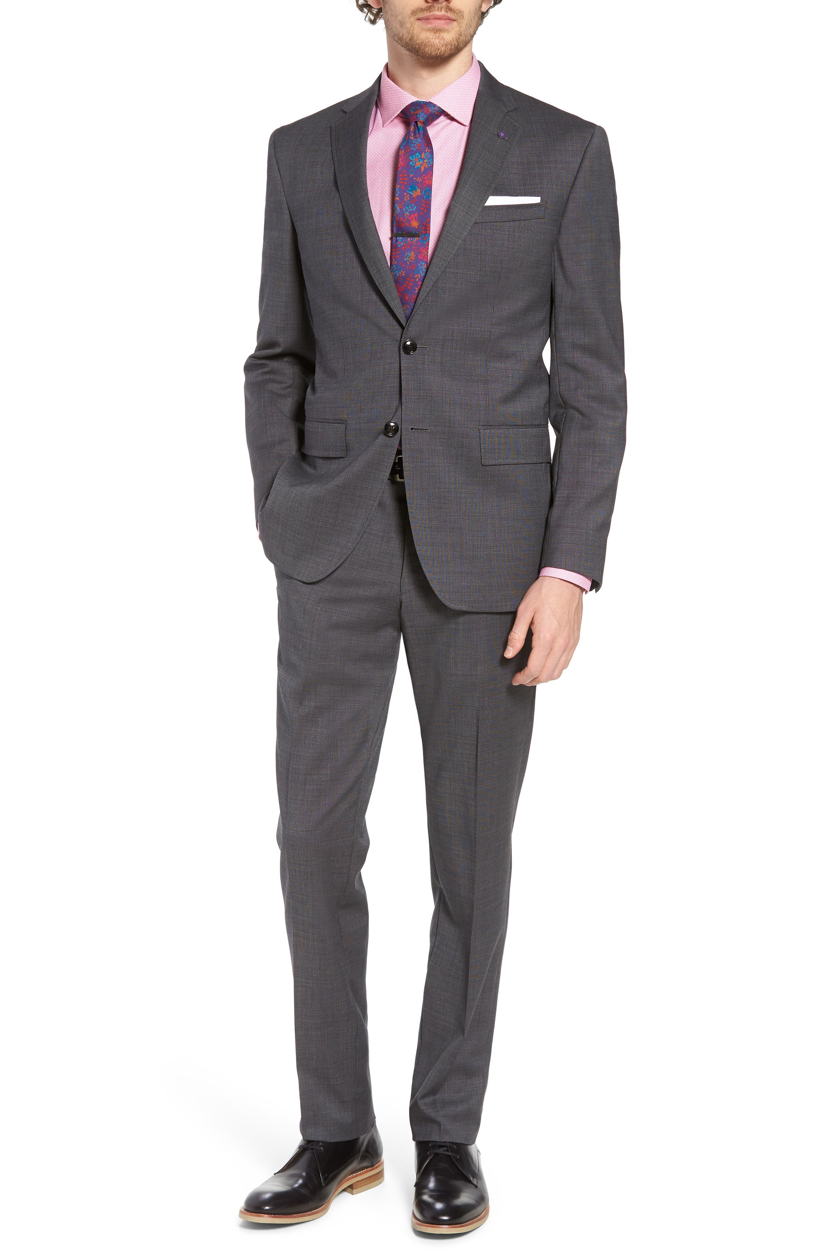 Jay Trim Fit Solid Wool Suit,                         Main,                         color, Grey