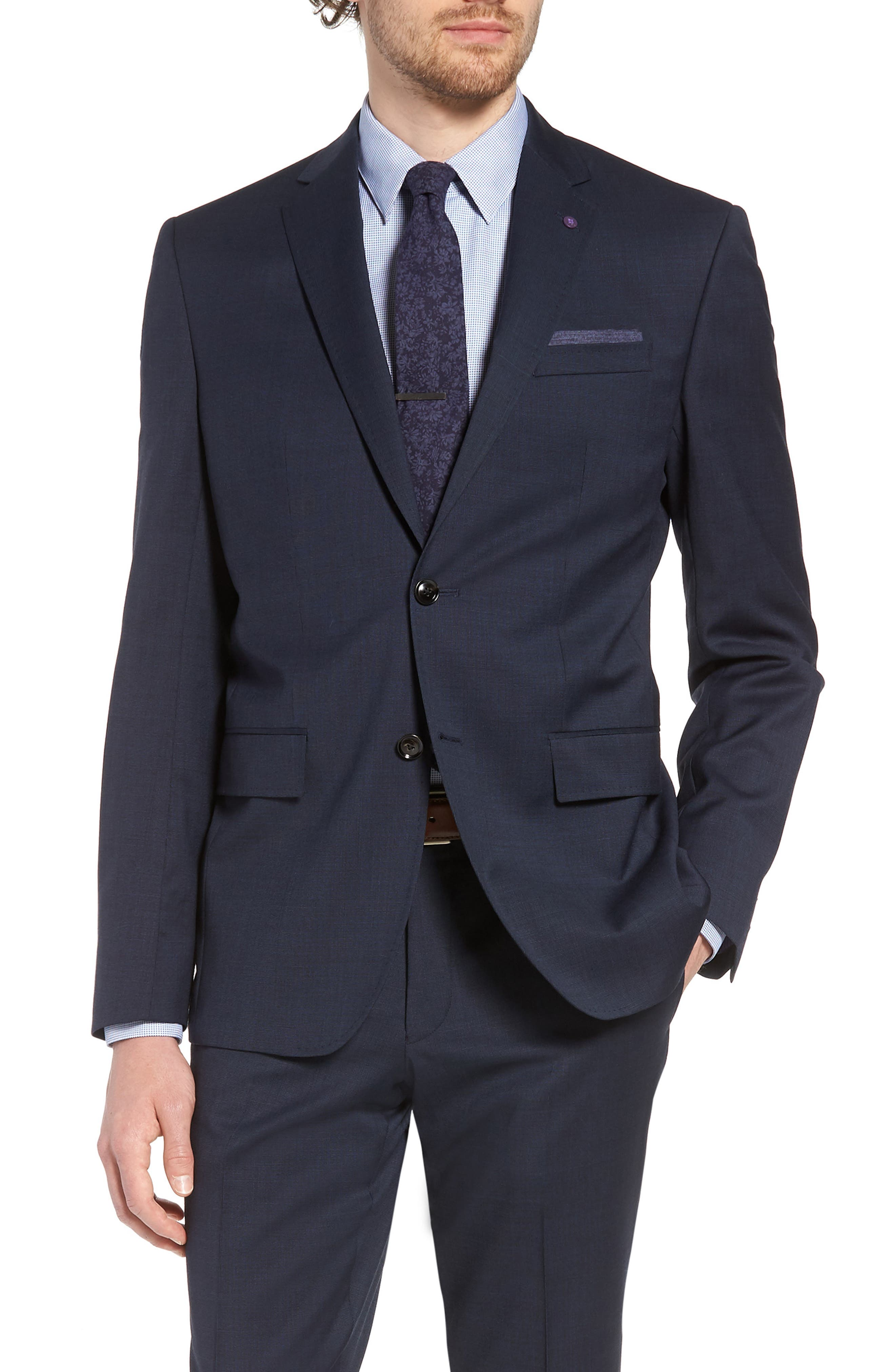 Jay Trim Fit Solid Wool Suit,                             Alternate thumbnail 5, color,                             Navy