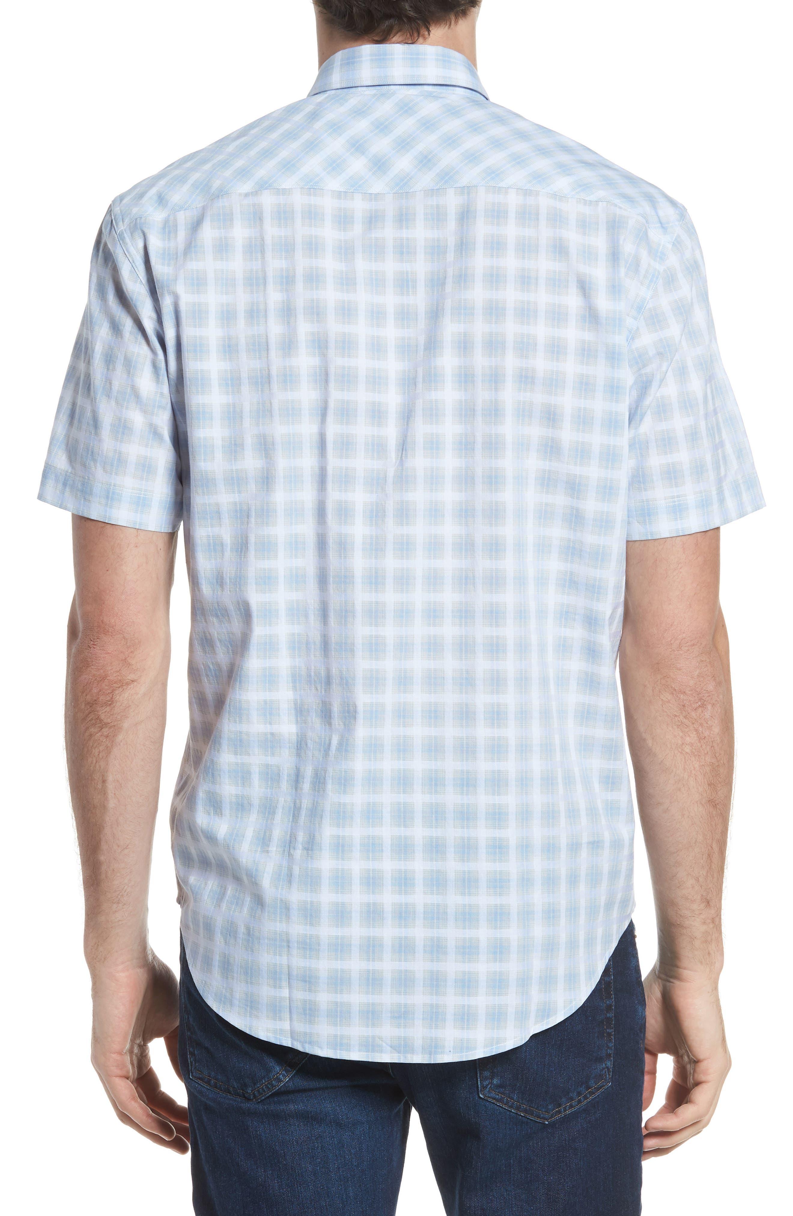 Ponto Regular Fit Check Sport Shirt,                             Alternate thumbnail 3, color,                             Sky