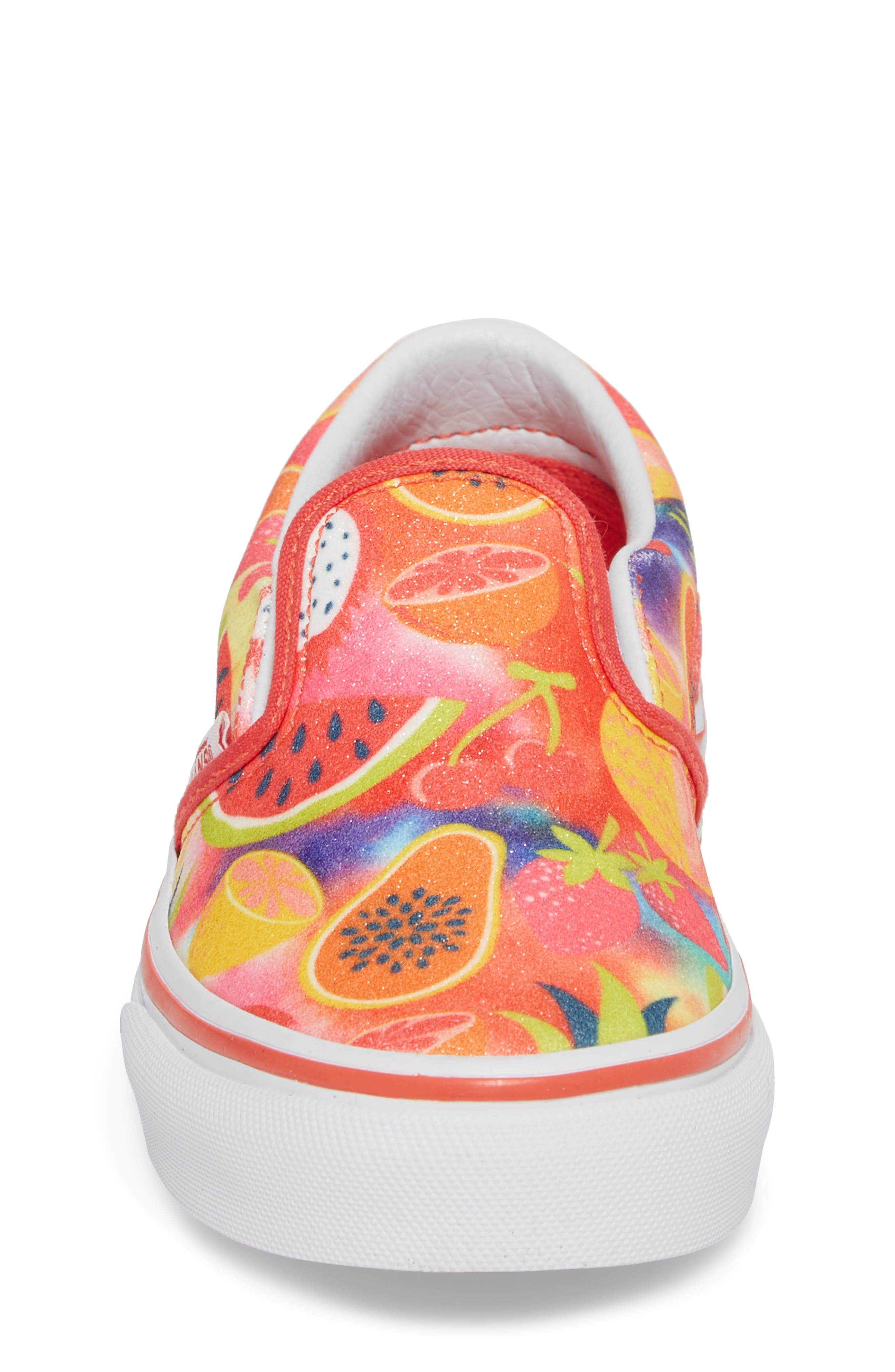 Classic Glitter Fruit Slip-On Sneaker,                             Alternate thumbnail 4, color,                             White/ Multi Glitter Fruits