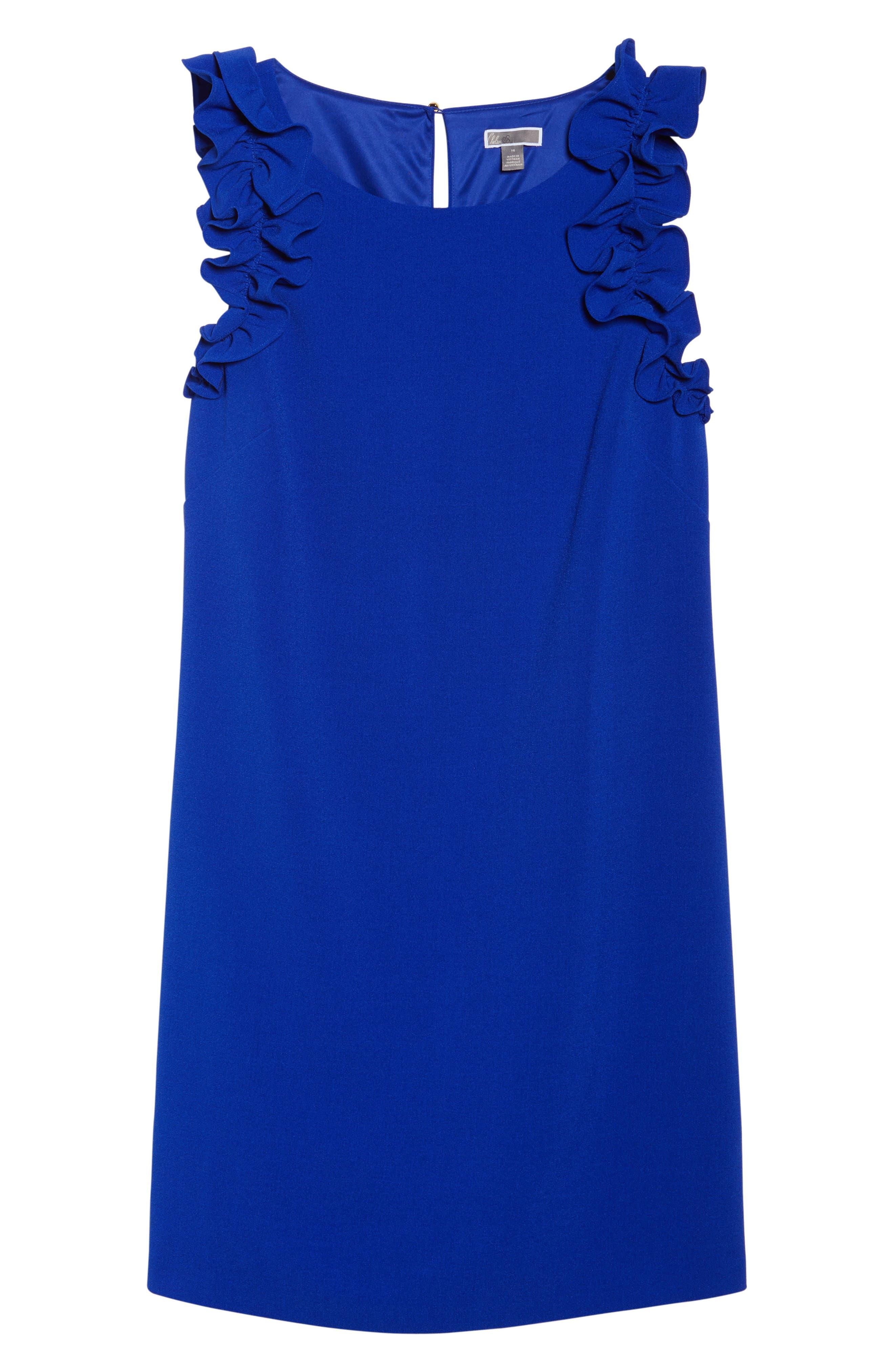 Ruffle Shoulder Crepe Shift Dress,                             Alternate thumbnail 6, color,                             Blue Surf
