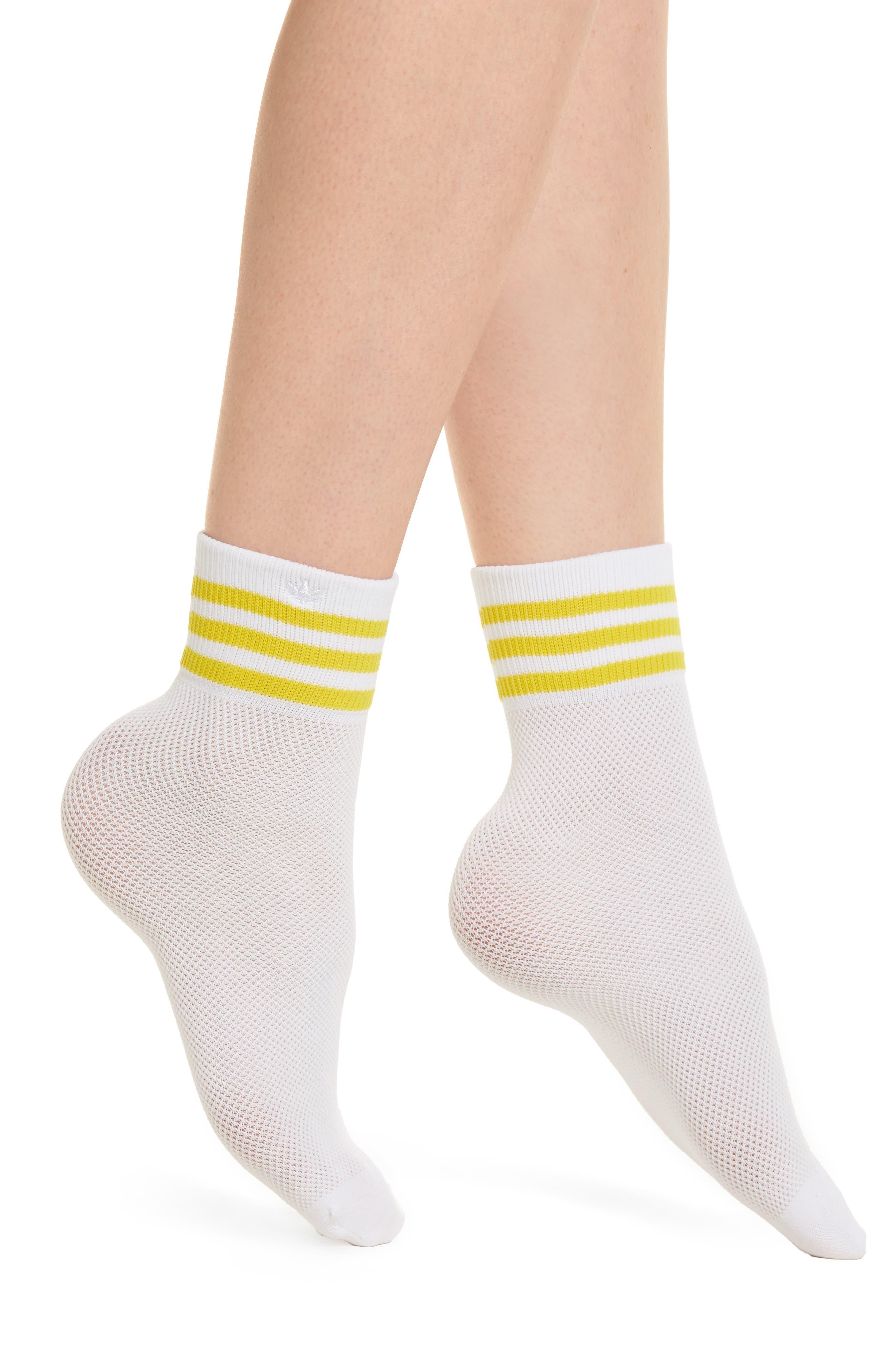 Stripe Mesh Ankle Socks,                         Main,                         color, White/ Yellow