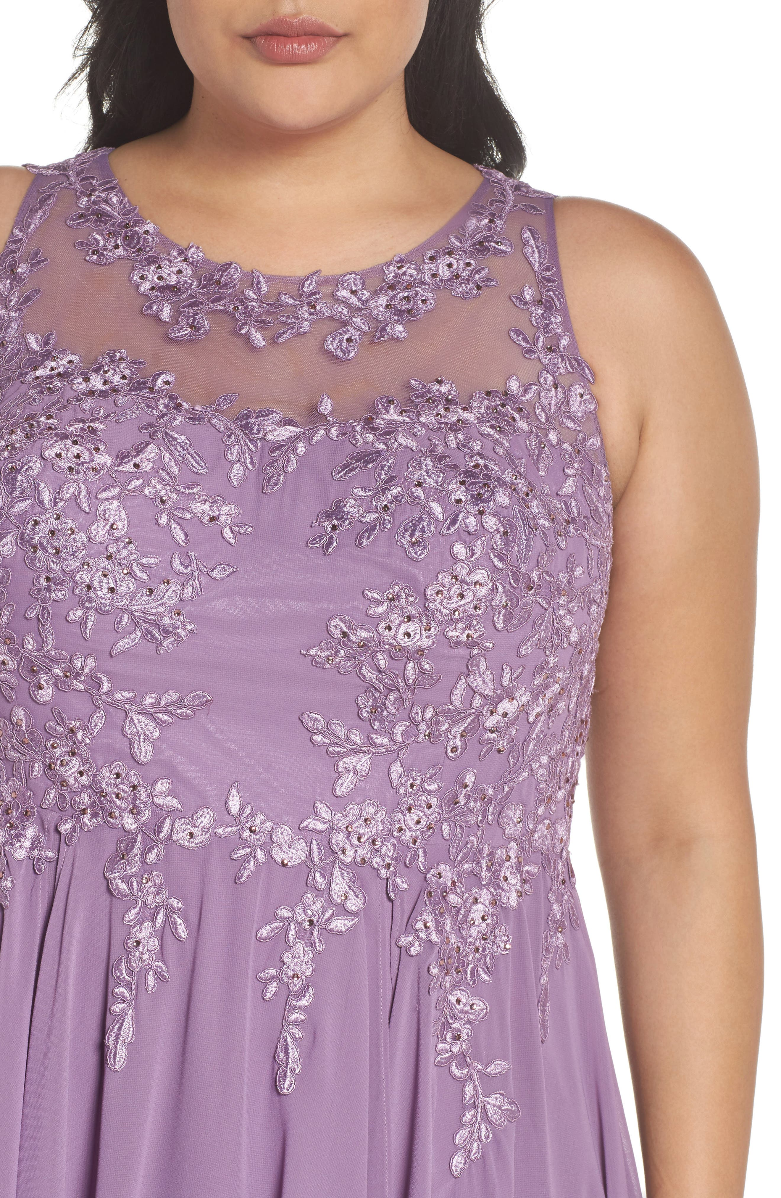 Embroidered Handkerchief Hem Gown,                             Alternate thumbnail 4, color,                             Lavender