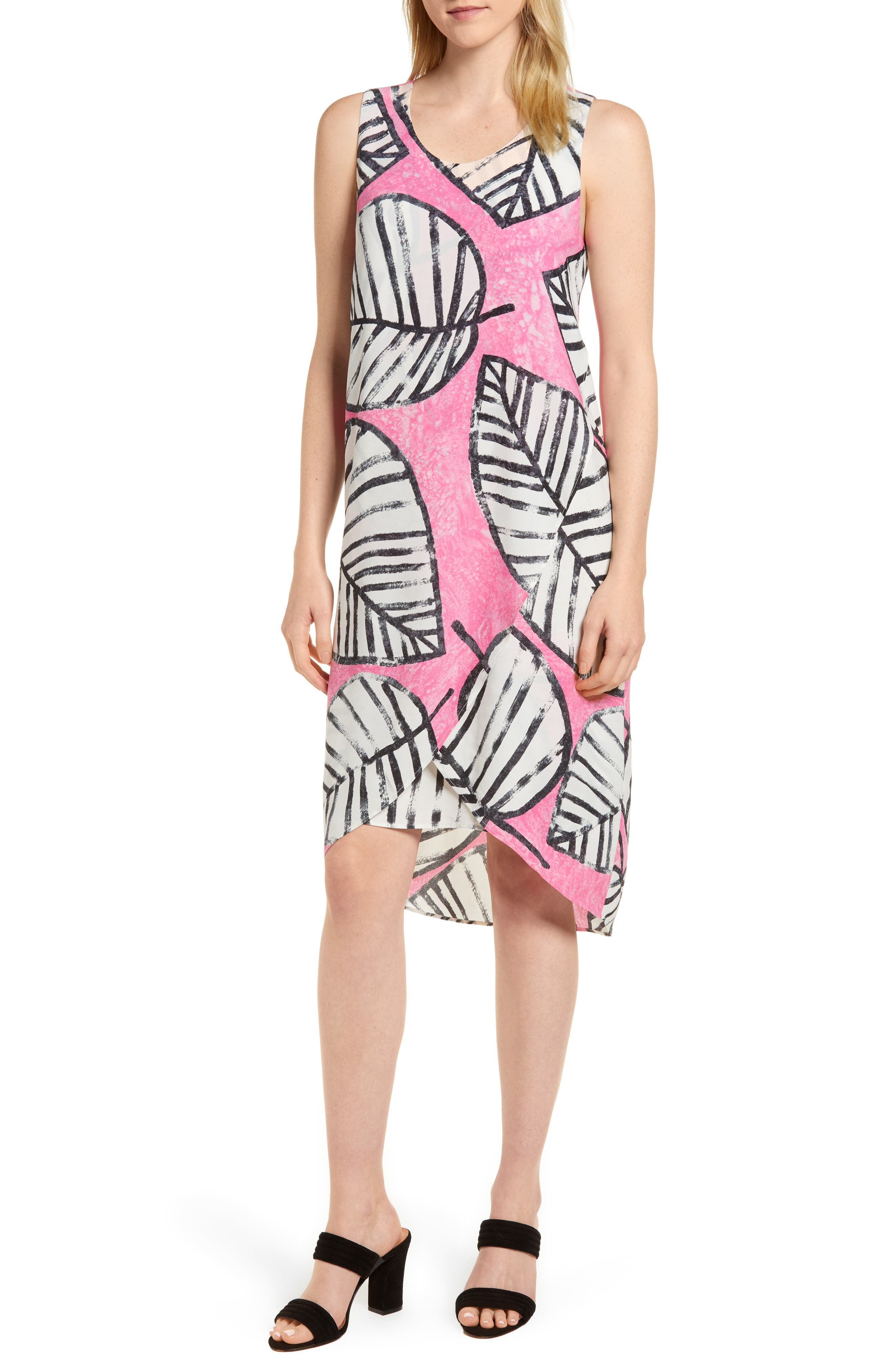 NIC+ZOE Etched Leaves Faux Wrap Shift Dress (Regular & Petite)
