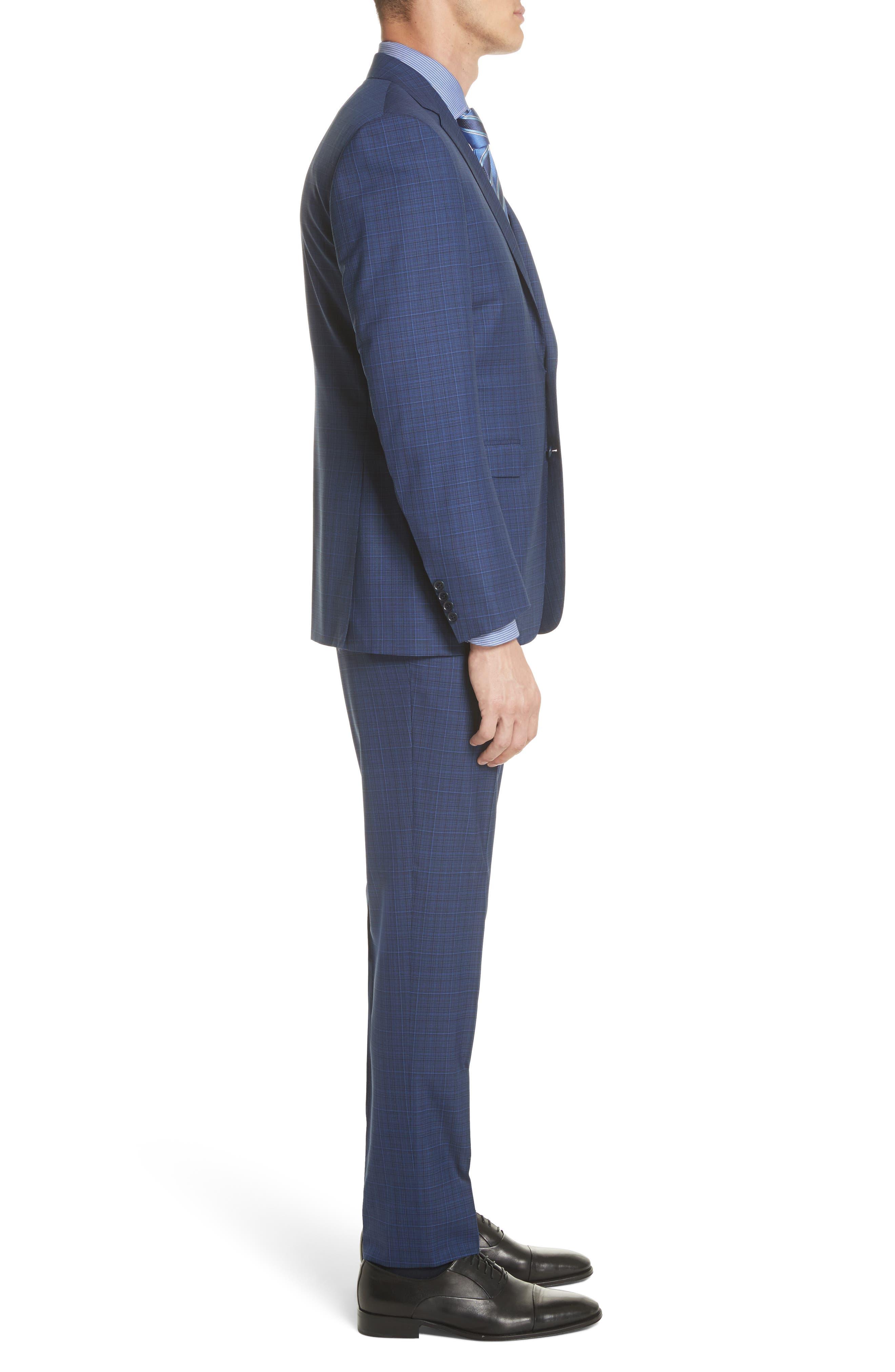 Classic Fit Tonal Plaid Wool Suit,                             Alternate thumbnail 3, color,                             Blue