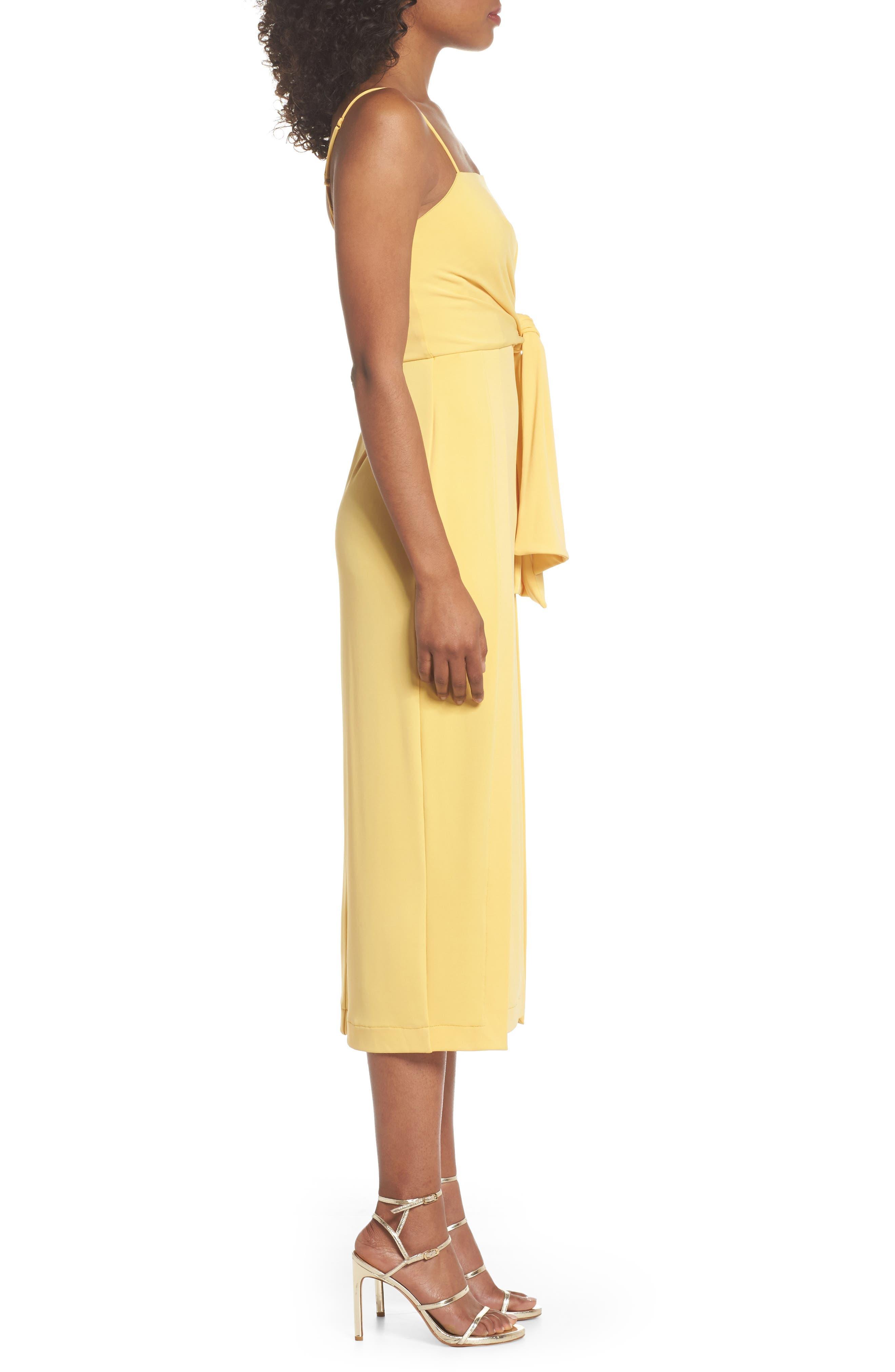 Recollect Slinky Side Tie Midi Dress,                             Alternate thumbnail 3, color,                             Honey