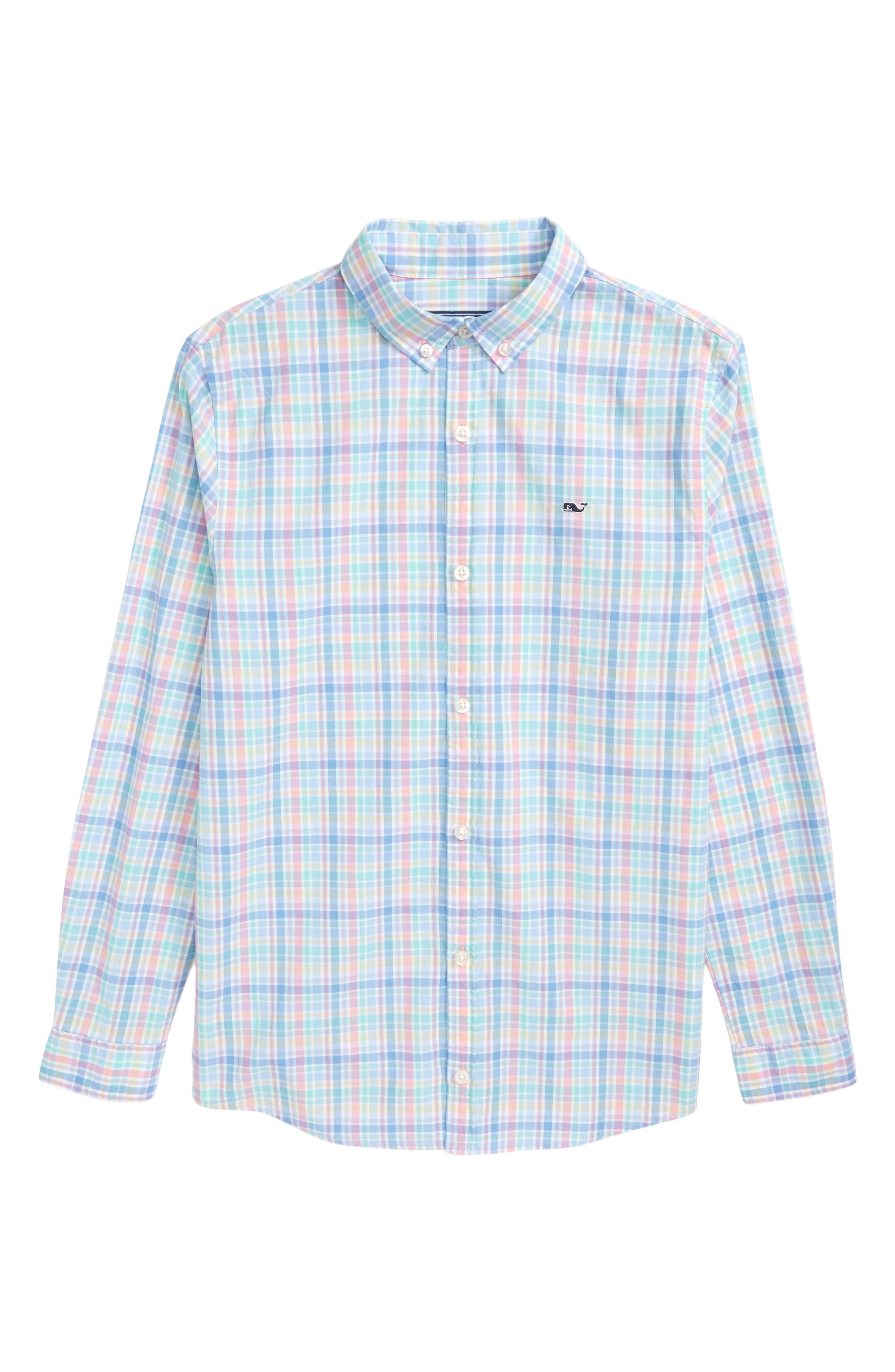 Walker's Cay Plaid Woven Shirt,                             Main thumbnail 1, color,                             Jake Blue